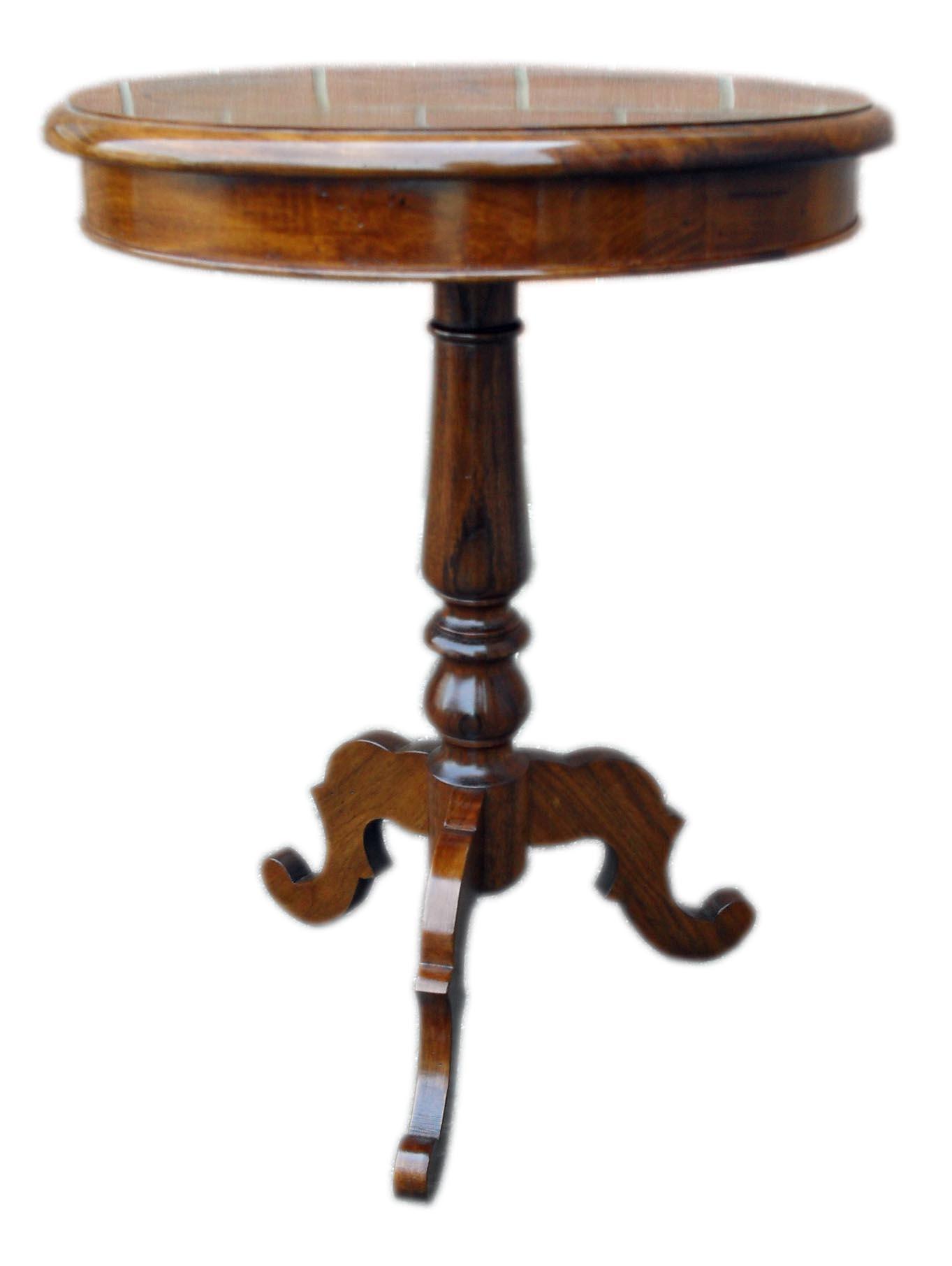 Tavolino rotondo intarsiato con stella dei venti