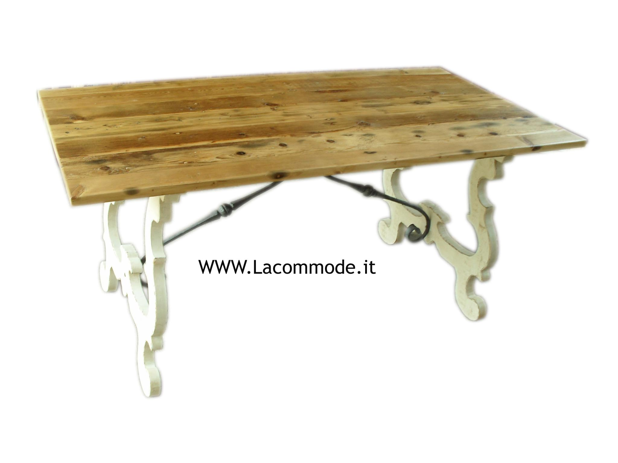 Tavolo fratino a lira con ferri in legno antico