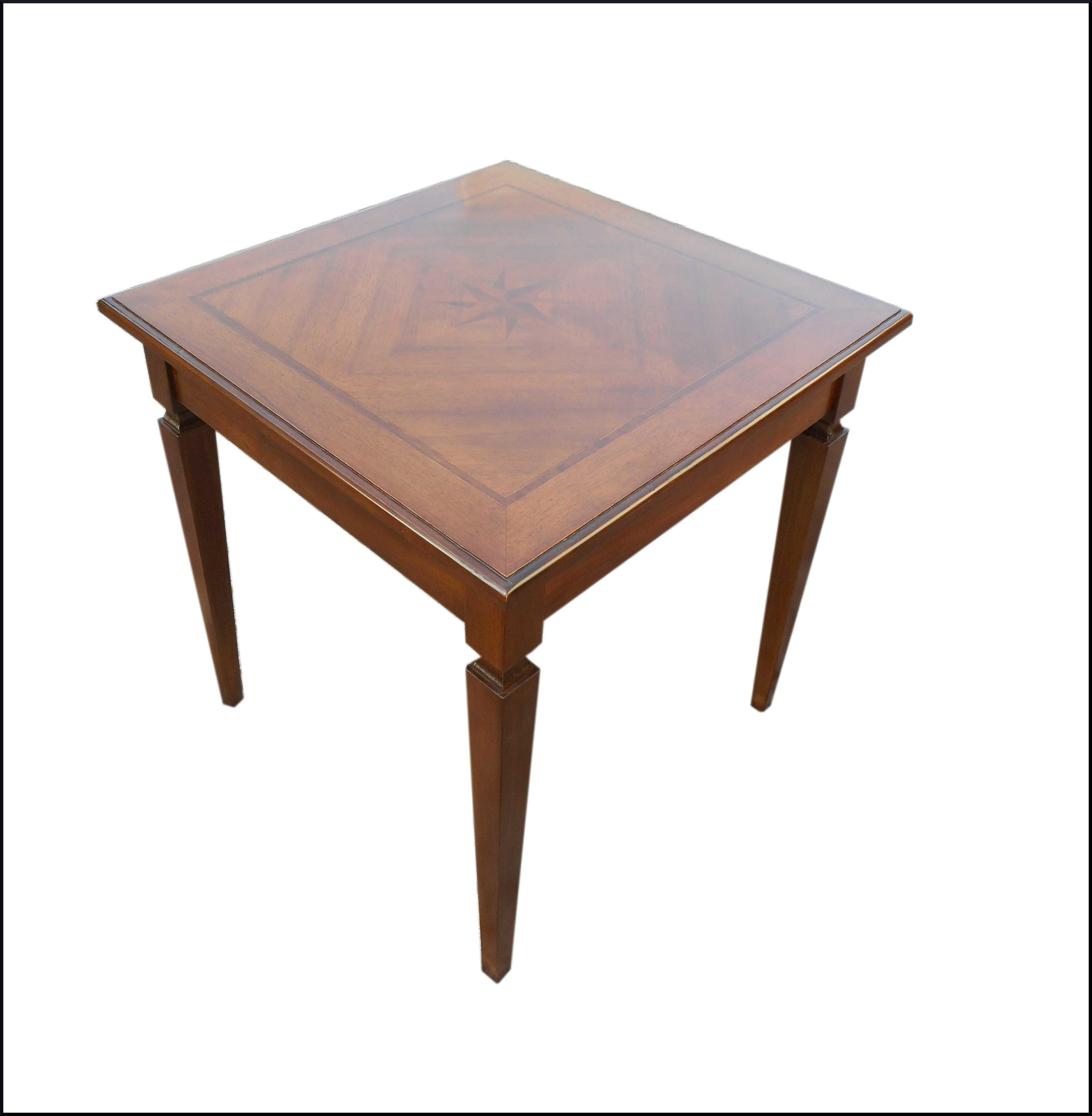 Tavolo scrittoio quadrato con intarsio centrale