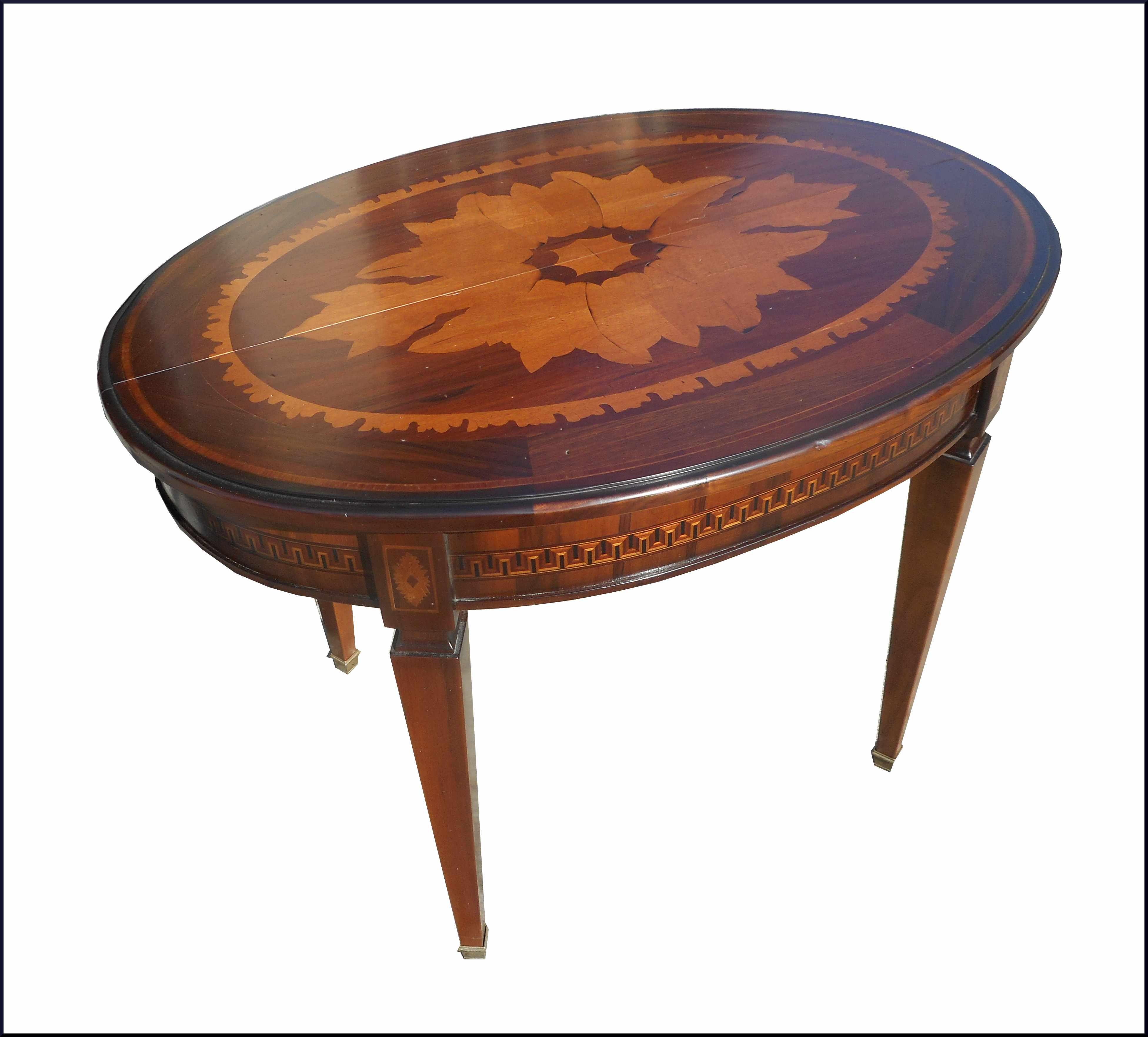 Tavolo ovale classico con piano intarsiato - La Commode di Davide Corno