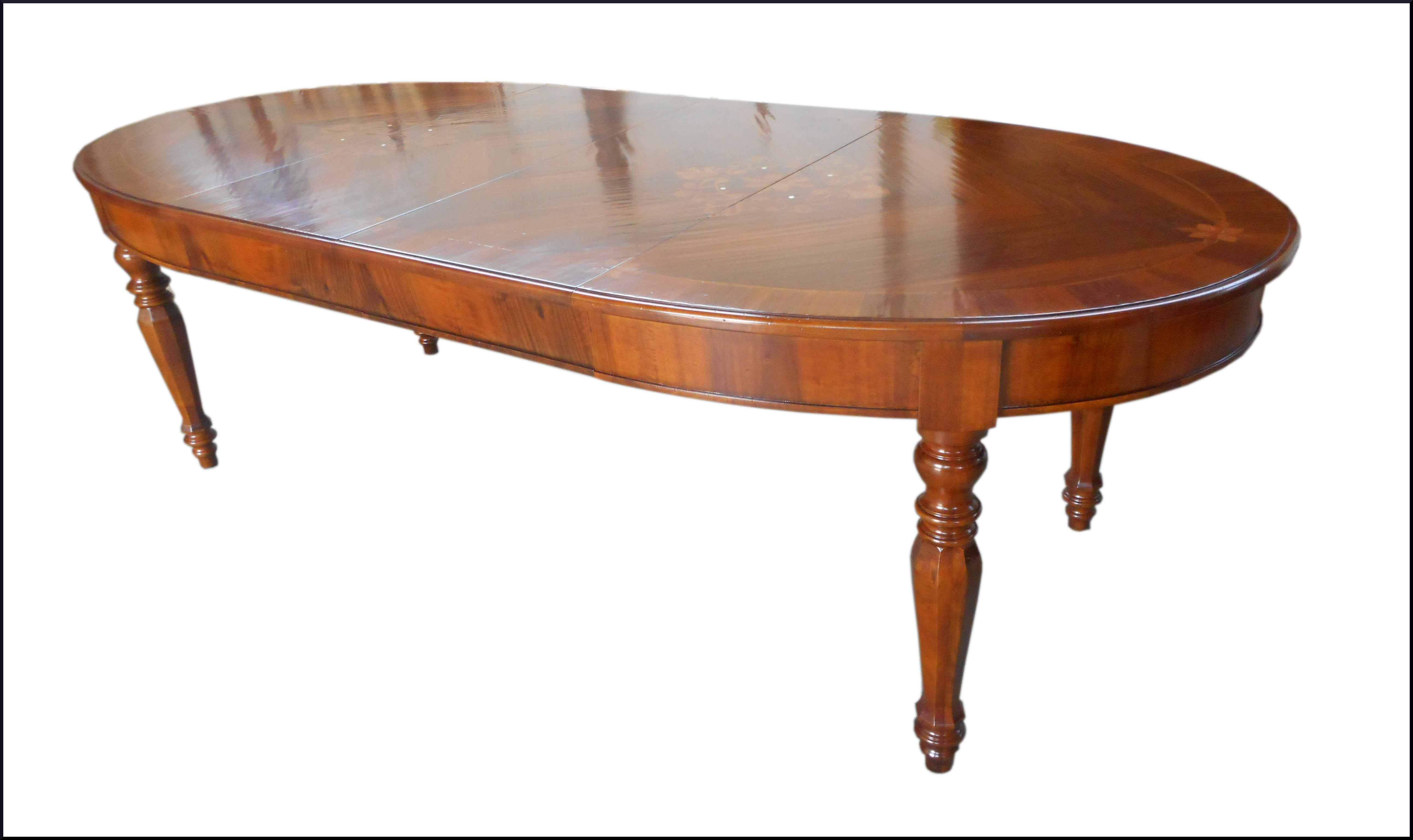 Tavolo ovale classico allungabile con intarsi