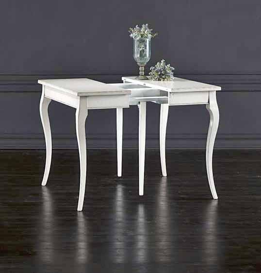 Tavolo rettangolare laccato bianco apribile la commode for Tavolo rettangolare bianco