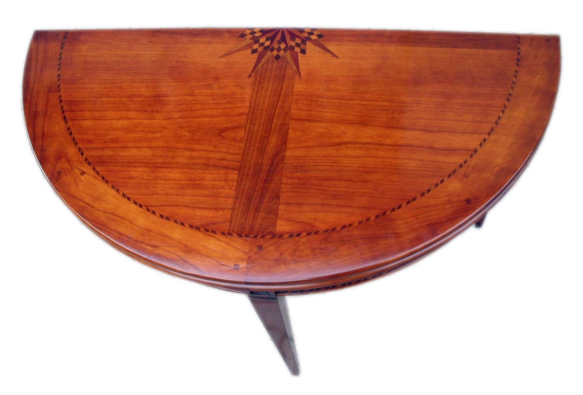 Tavolo Consolle artigianale intarsiata allungabile