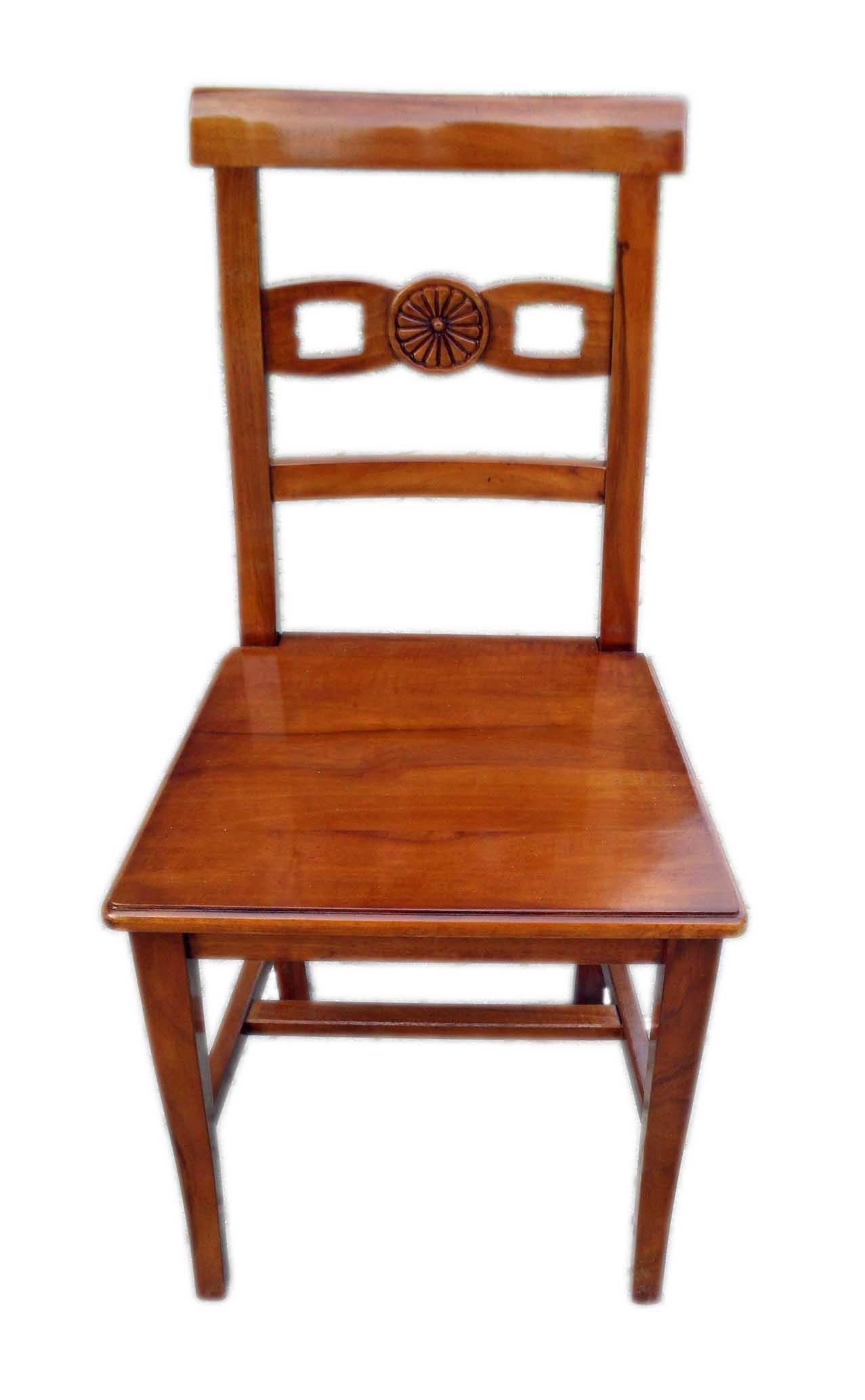Sedia asolana con intaglio e seduta  legno