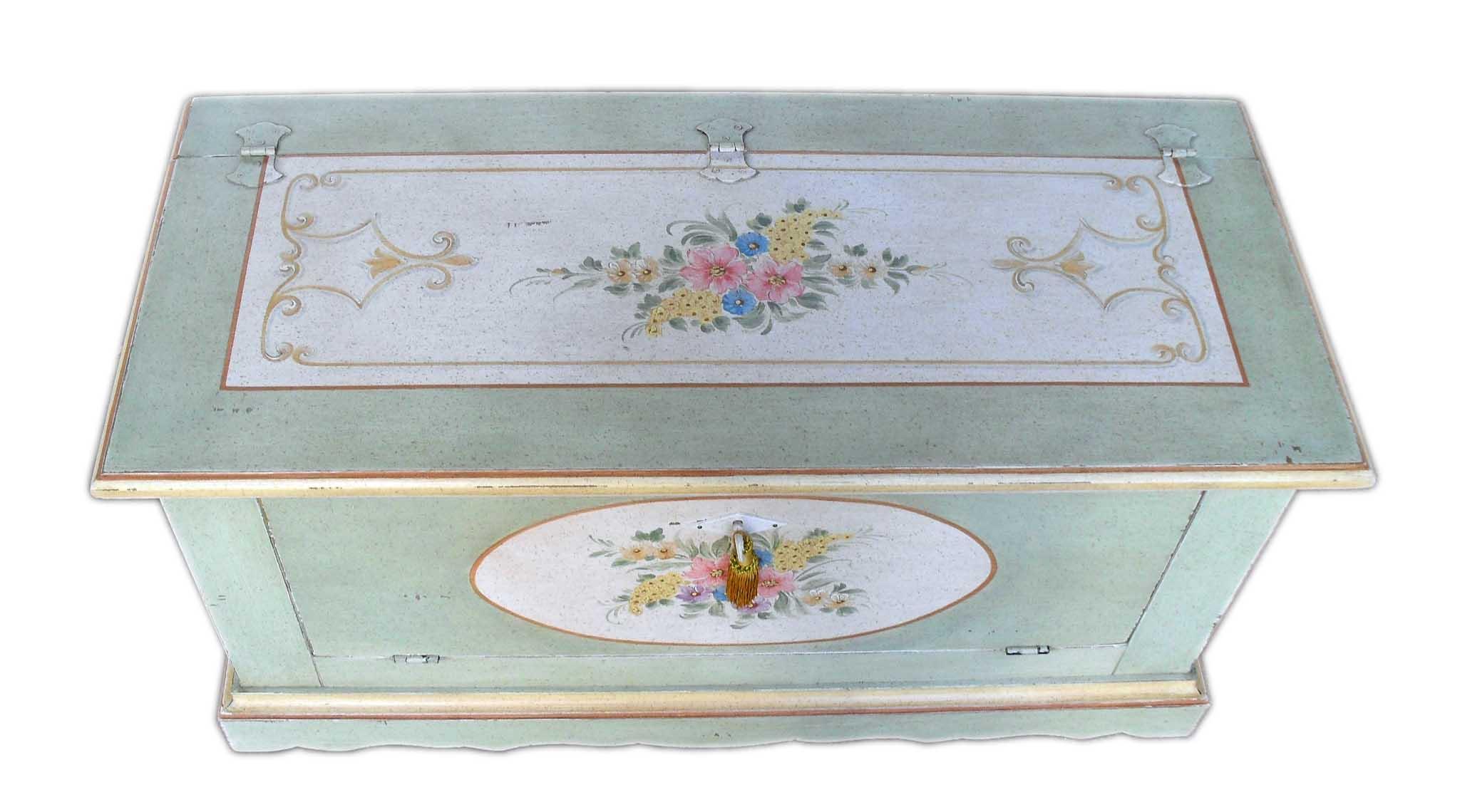 Cassapanca provenzale con antina a ribalta la commode di - Mobili in legno grezzo da dipingere ...