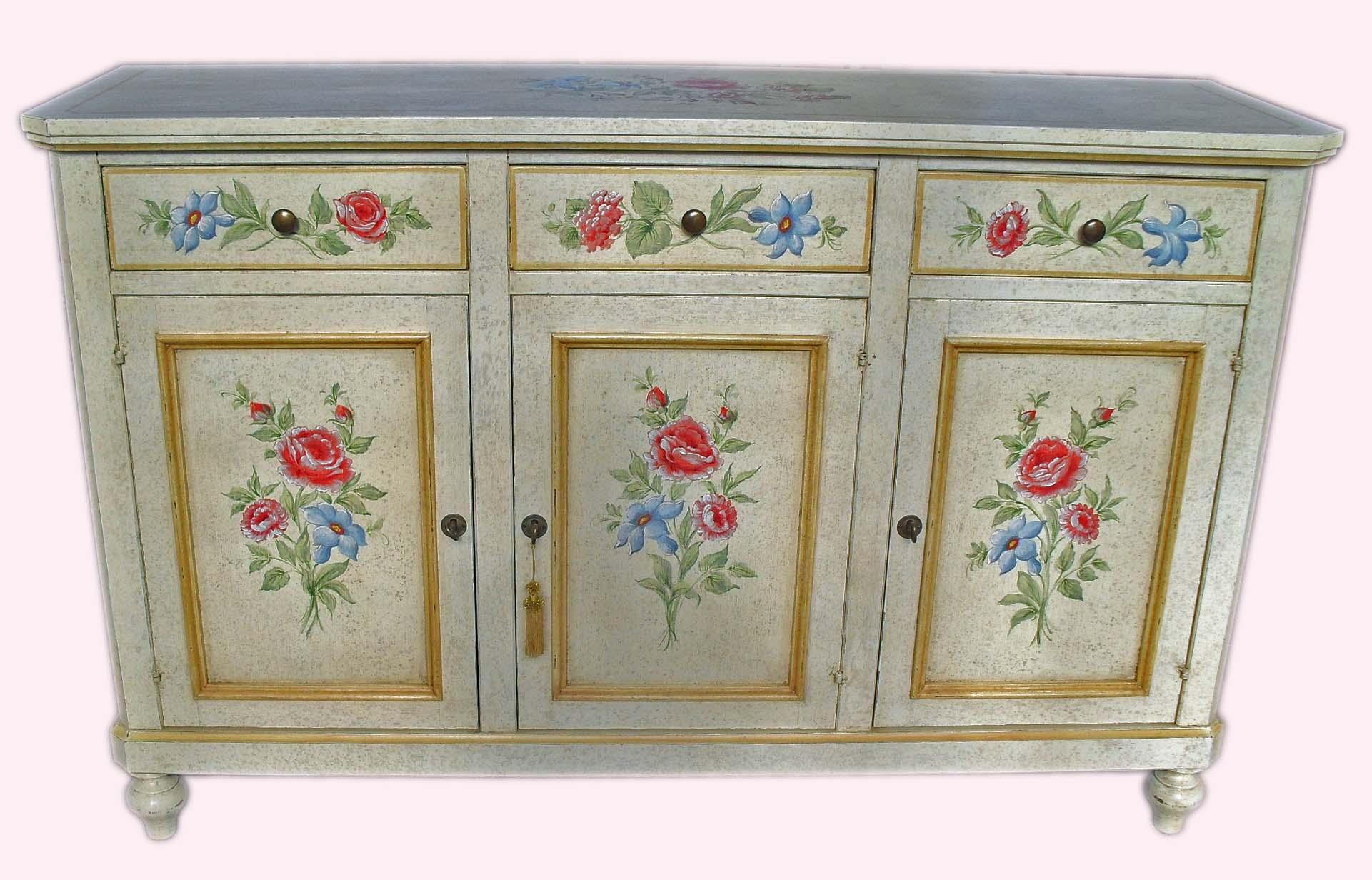Credenza 3 porte dipinta a mano con fiori - La Commode di Davide Corno