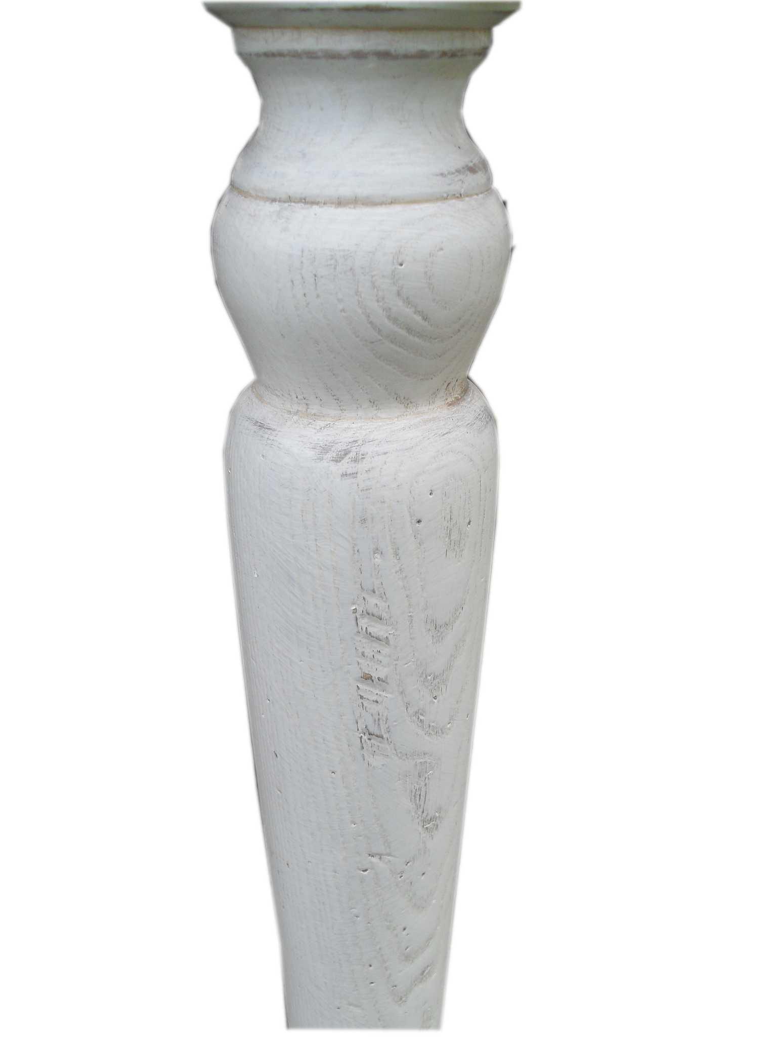 Tavolo frassino spazzolato con base laccata bianca