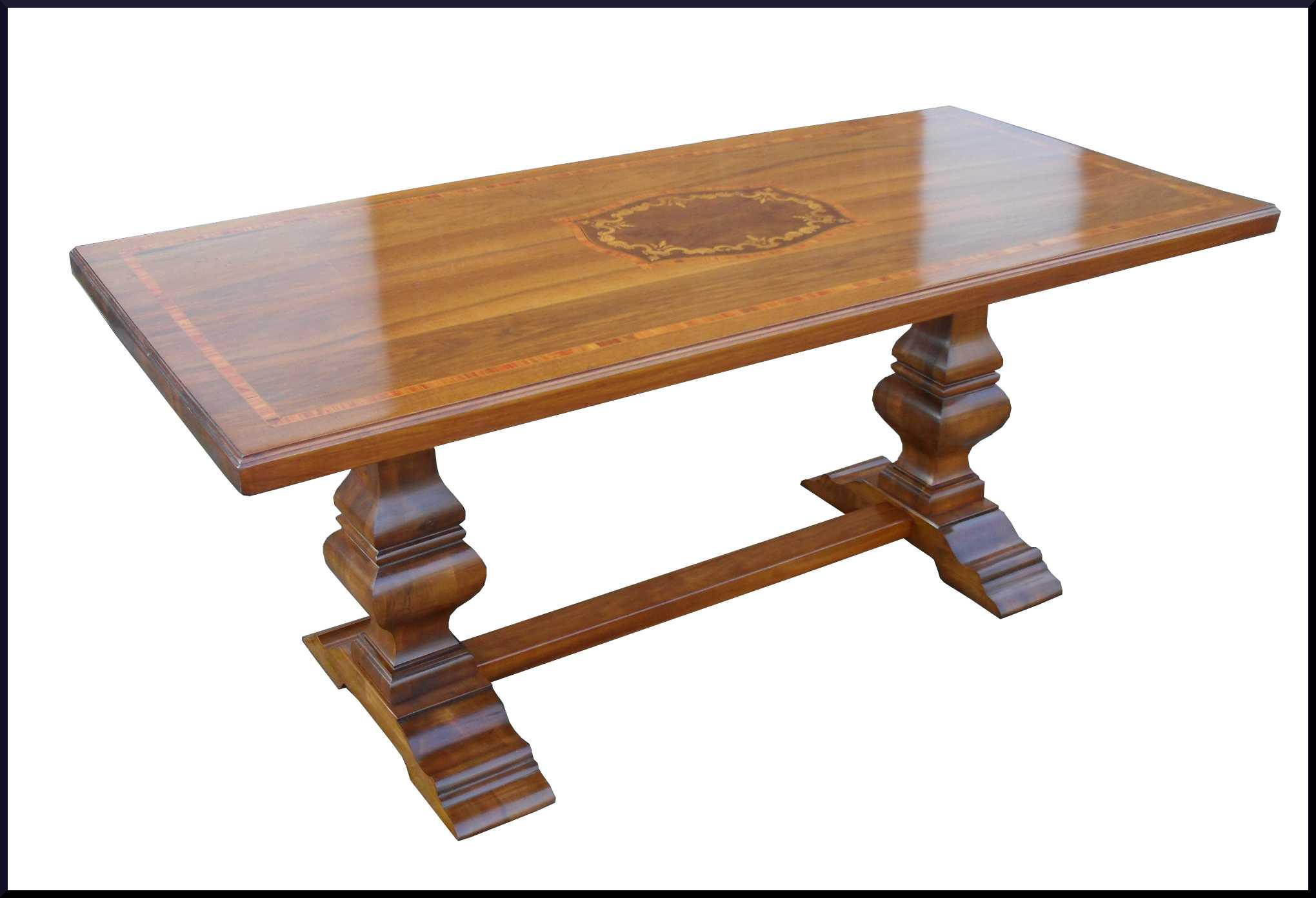 Elegante tavolo fratino intarsiato con legno di rosa e for Tavolo legno intarsiato
