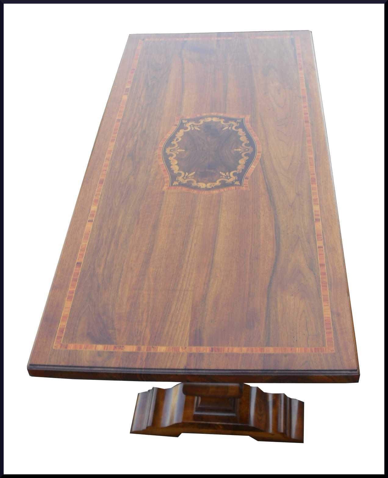 Elegante tavolo fratino intarsiato con legno di rosa e - Tavolo noce massello ...