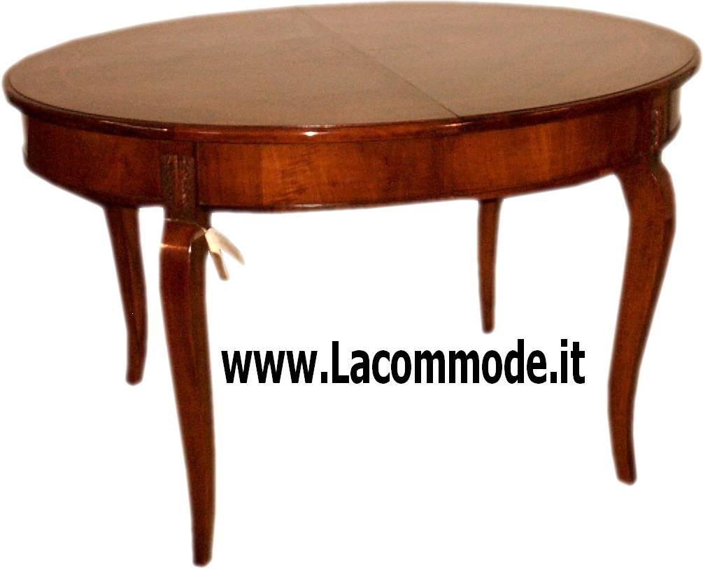 Tavolo ovale allungabile noce su misura intarsiato la - Tavolo ovale allungabile ...