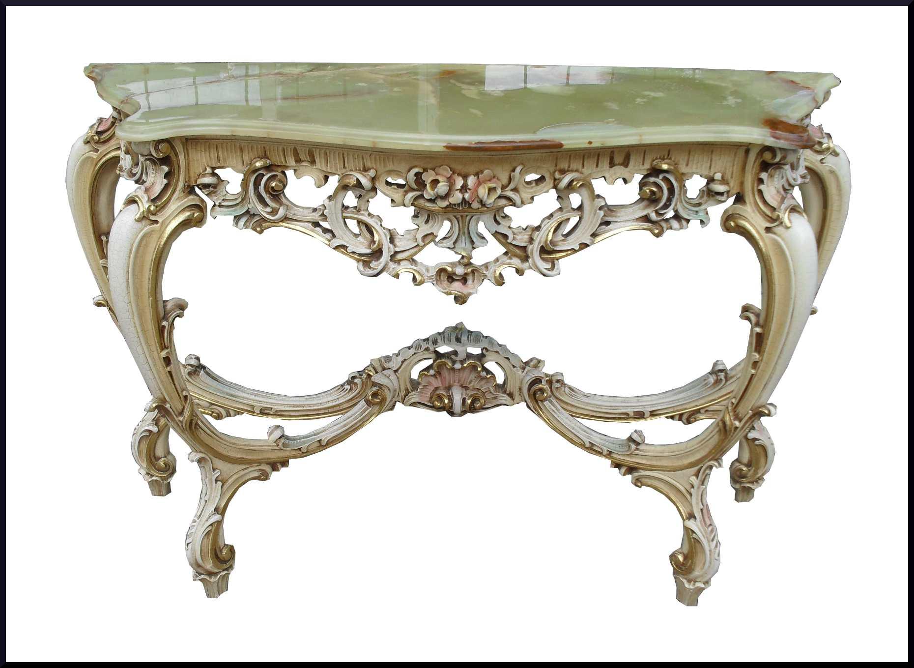 Consolle intagliata a mano e decorata in stile veneziano - La ...