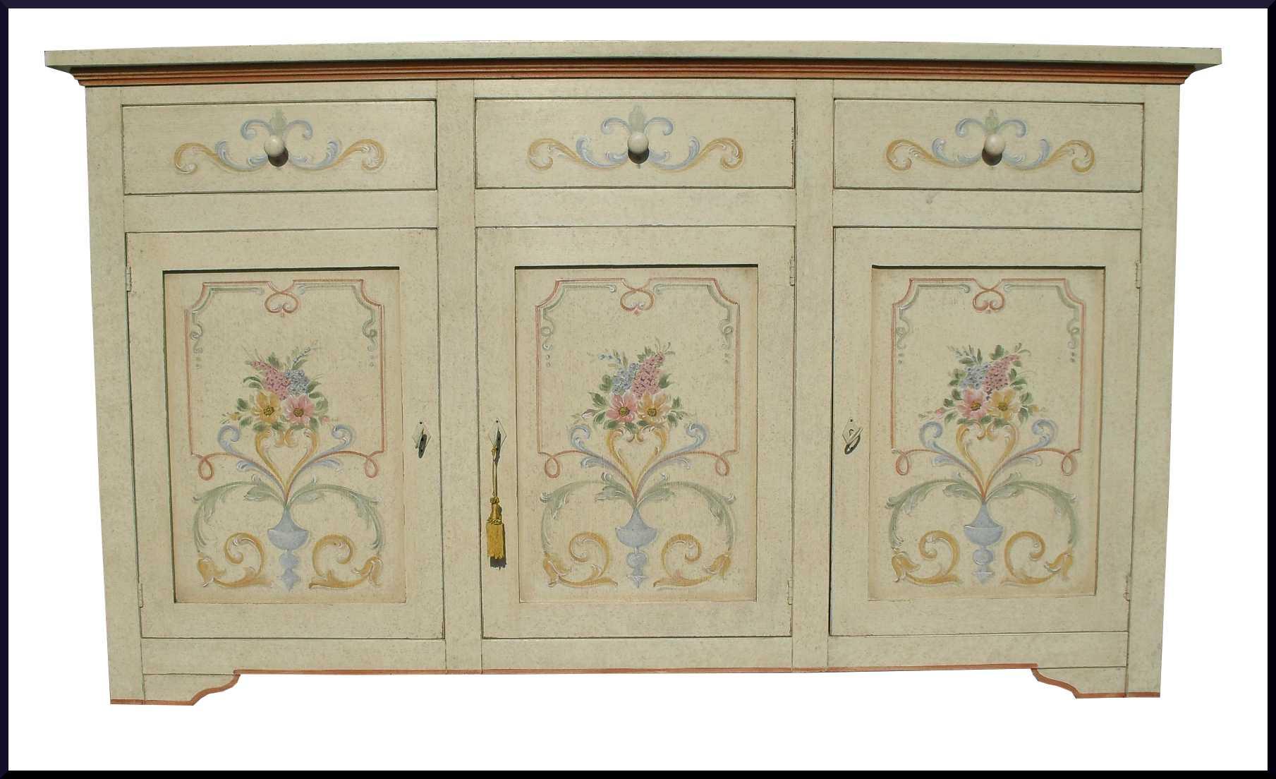 Credenza 3 porte 3 casseti dipinta a mano con motivi geometrici e ...