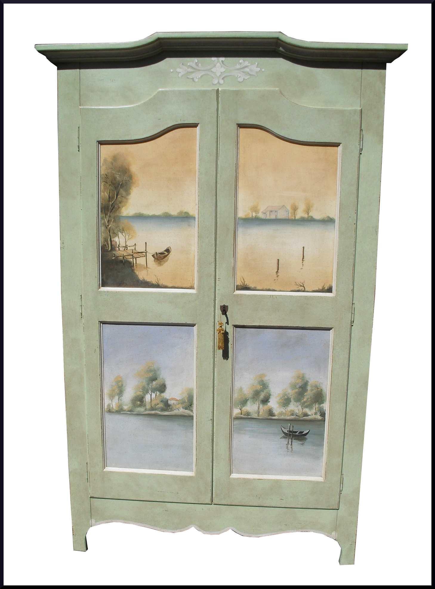 Armadio dipinto e decorato a mano con paesaggi la - Mobili dipinti tirolesi ...