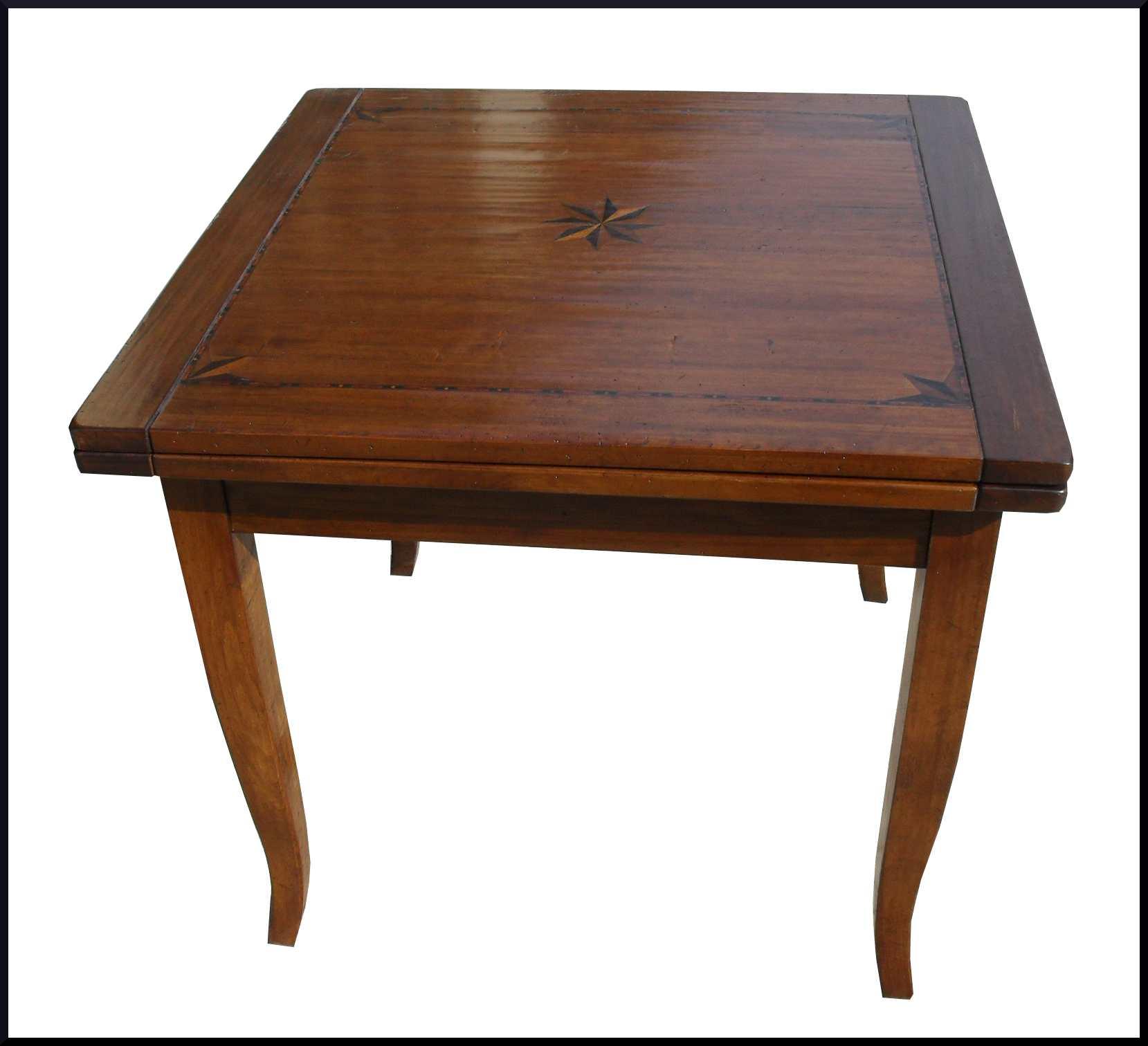 Tavolo quadrato classico intarsiato apribile la commode for Tavolo legno intarsiato