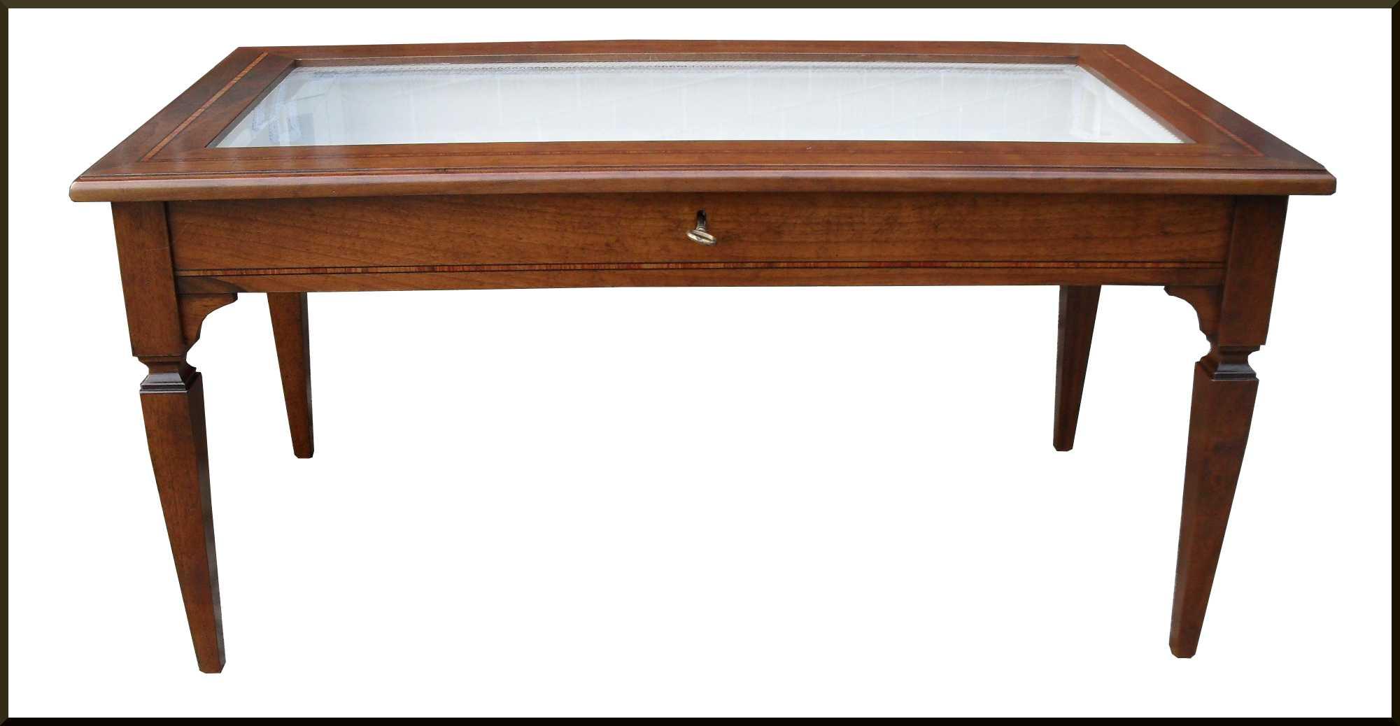 Tavolino salotto a bacheca con stoffa