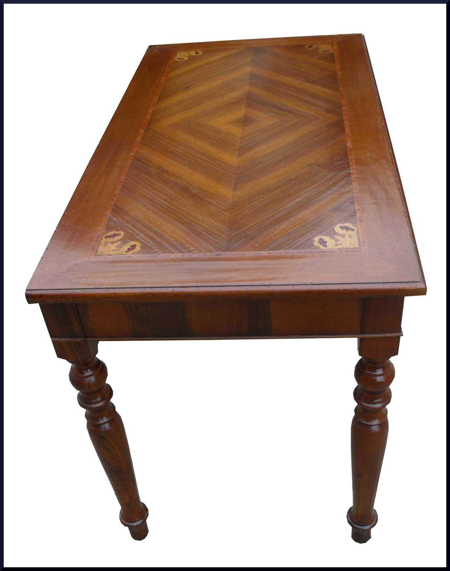 Elegante tavolo apribile a consolle con gamba tornita e piano intarsiato realizzabile su misura - Piano tavolo su misura ...