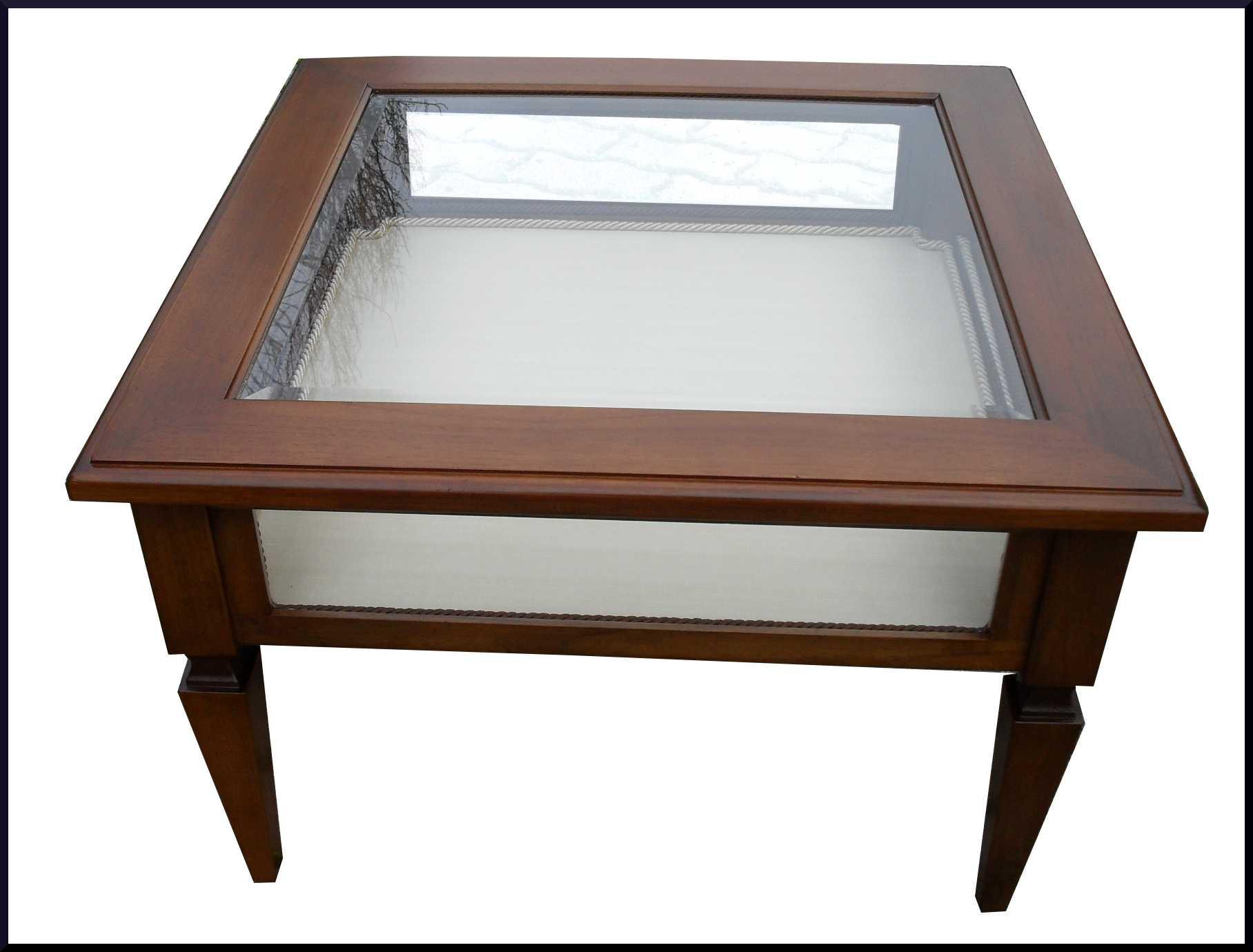 Tavolino da salotto a bacheca per collezioni