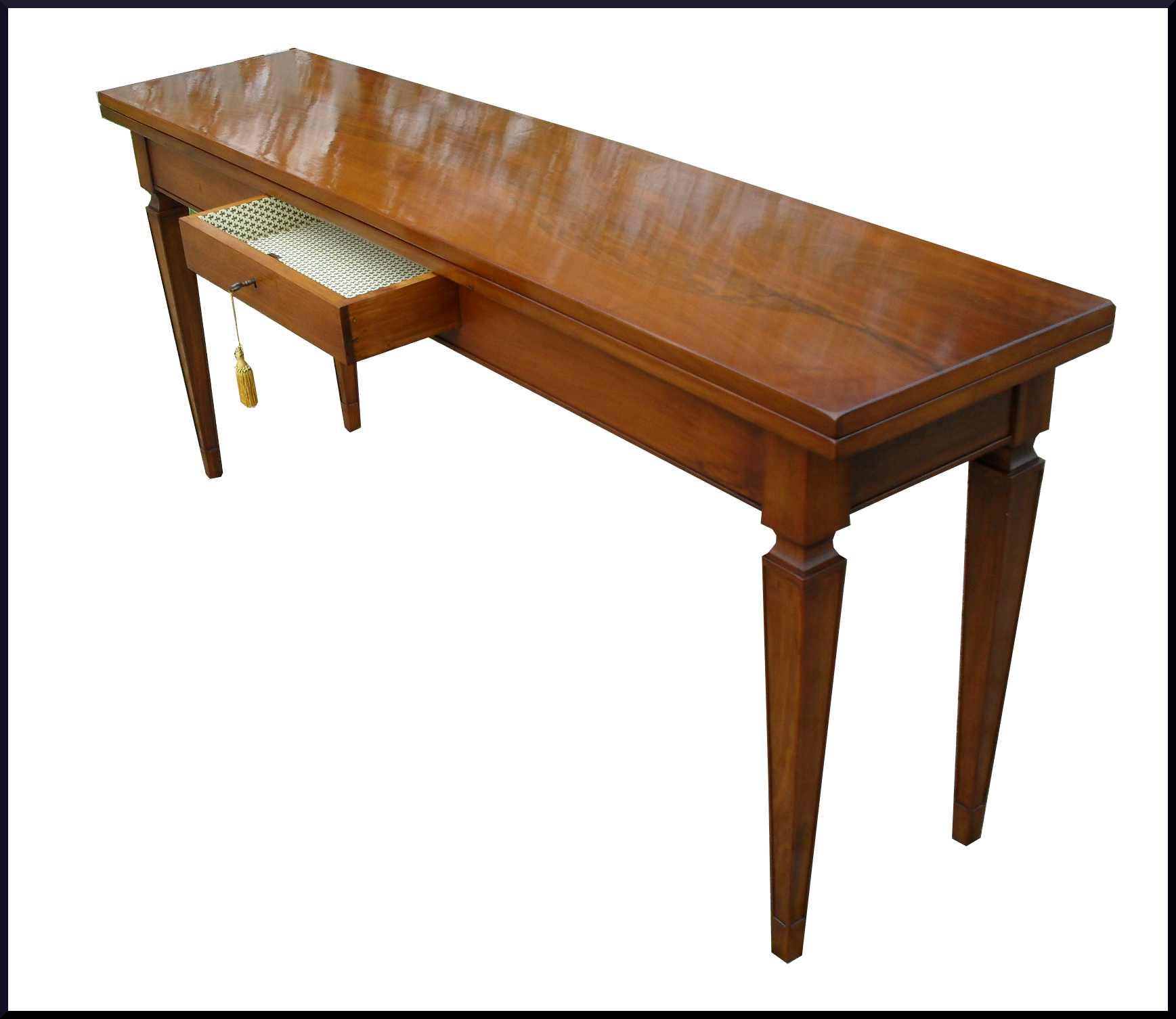 Tavolo classico apribile a consolle con cassetto