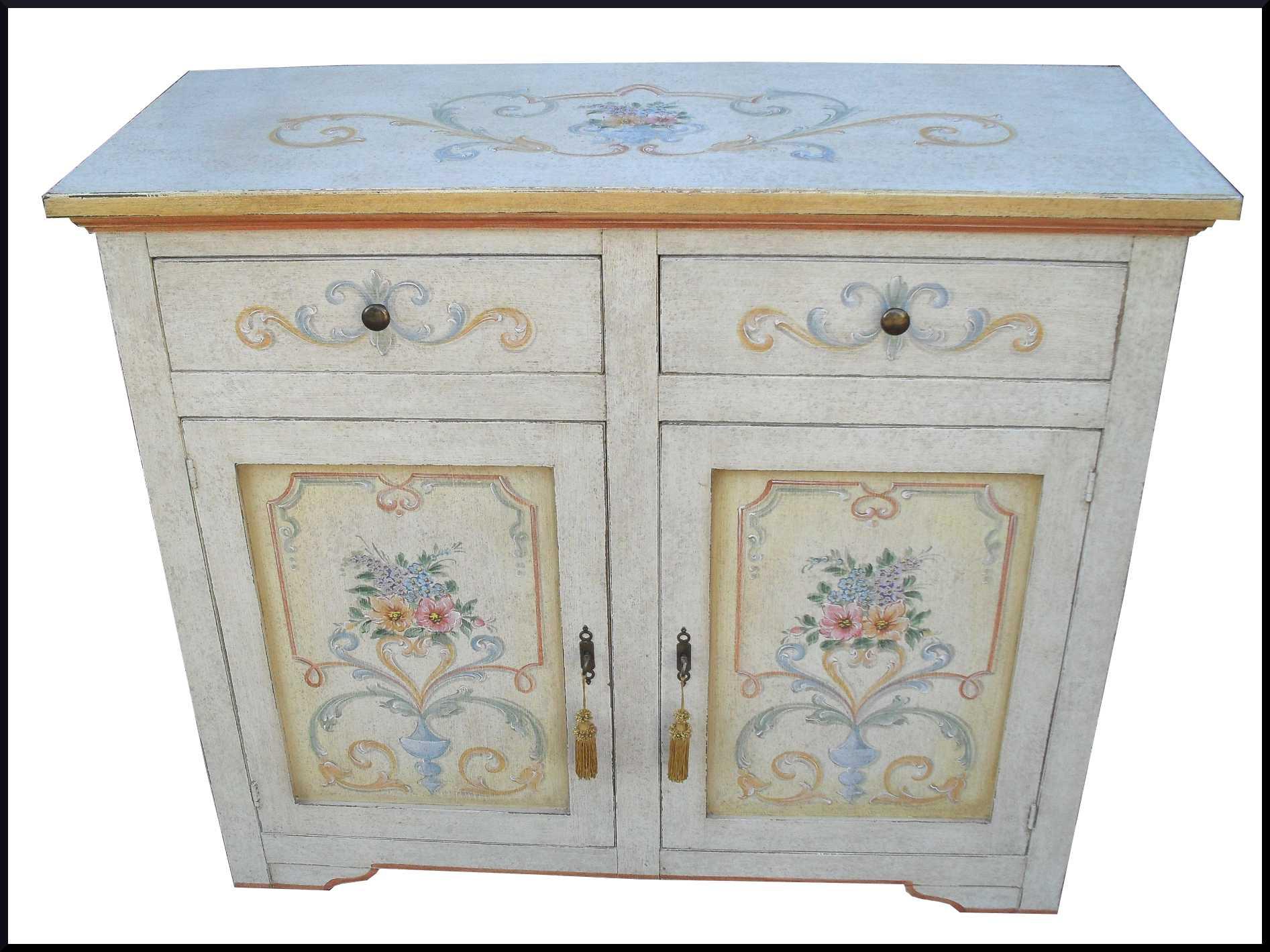 Mobili decorati credenzina 2 porte greche e fiori la - Dipingere mobili ikea ...