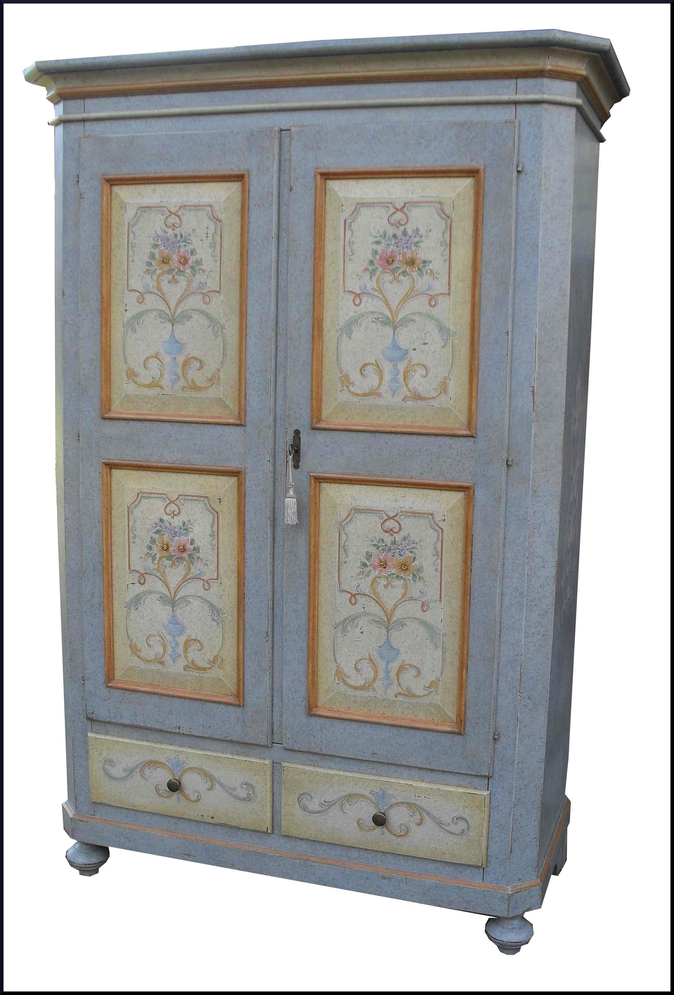 Armadio dipinto decorato laccato a mano la commode di davide corno - Armadi decorati ...
