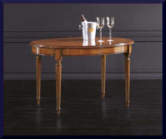 Tavolo classico ovale apribile con gamba scanalata la for Tavolo apribile