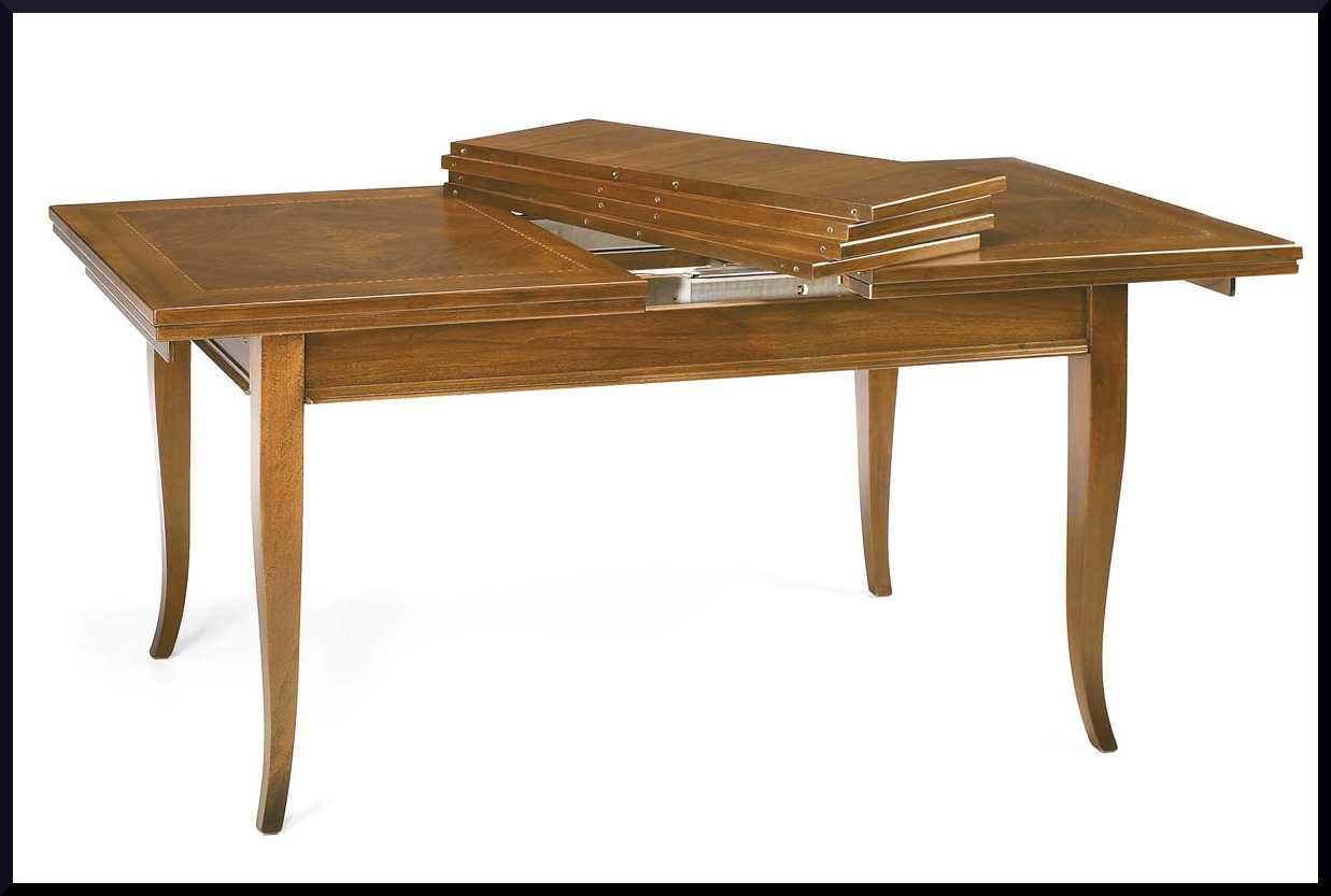 Tavolo classico rettangolare allungabile la commode di - Tavolo consolle allungabile con prolunghe interne ...