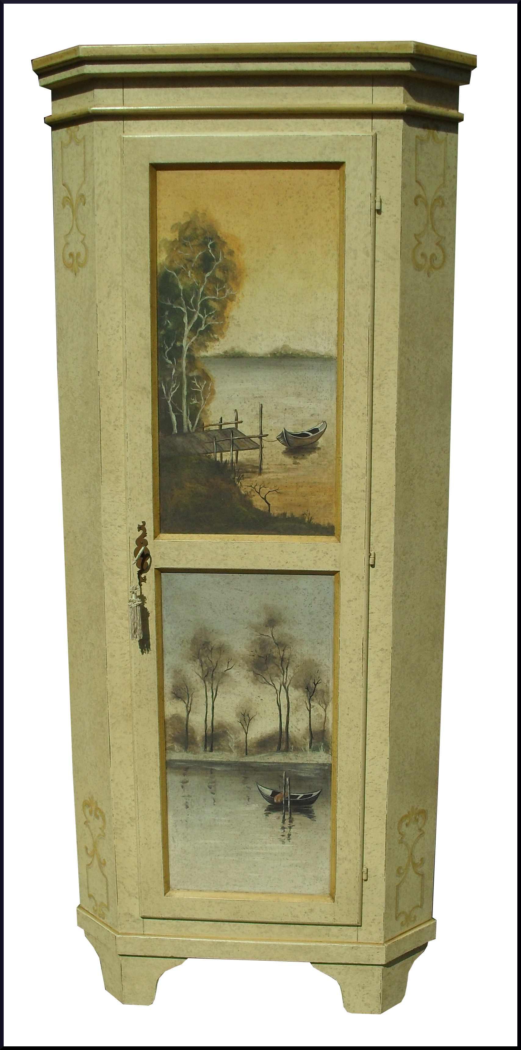 angoliera cantonale dipinta a mano con paesaggi la