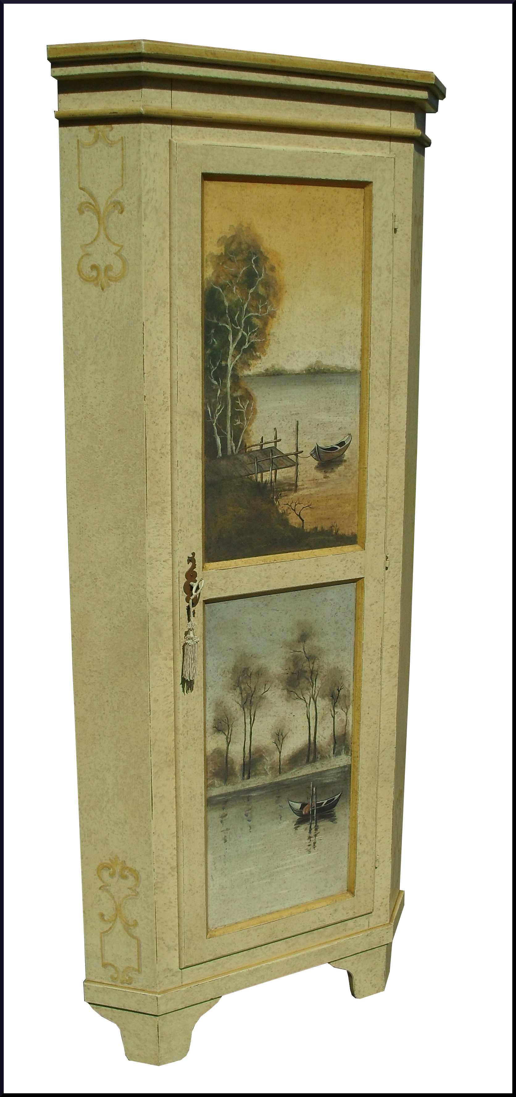 Angoliera cantonale dipinta a mano con paesaggi