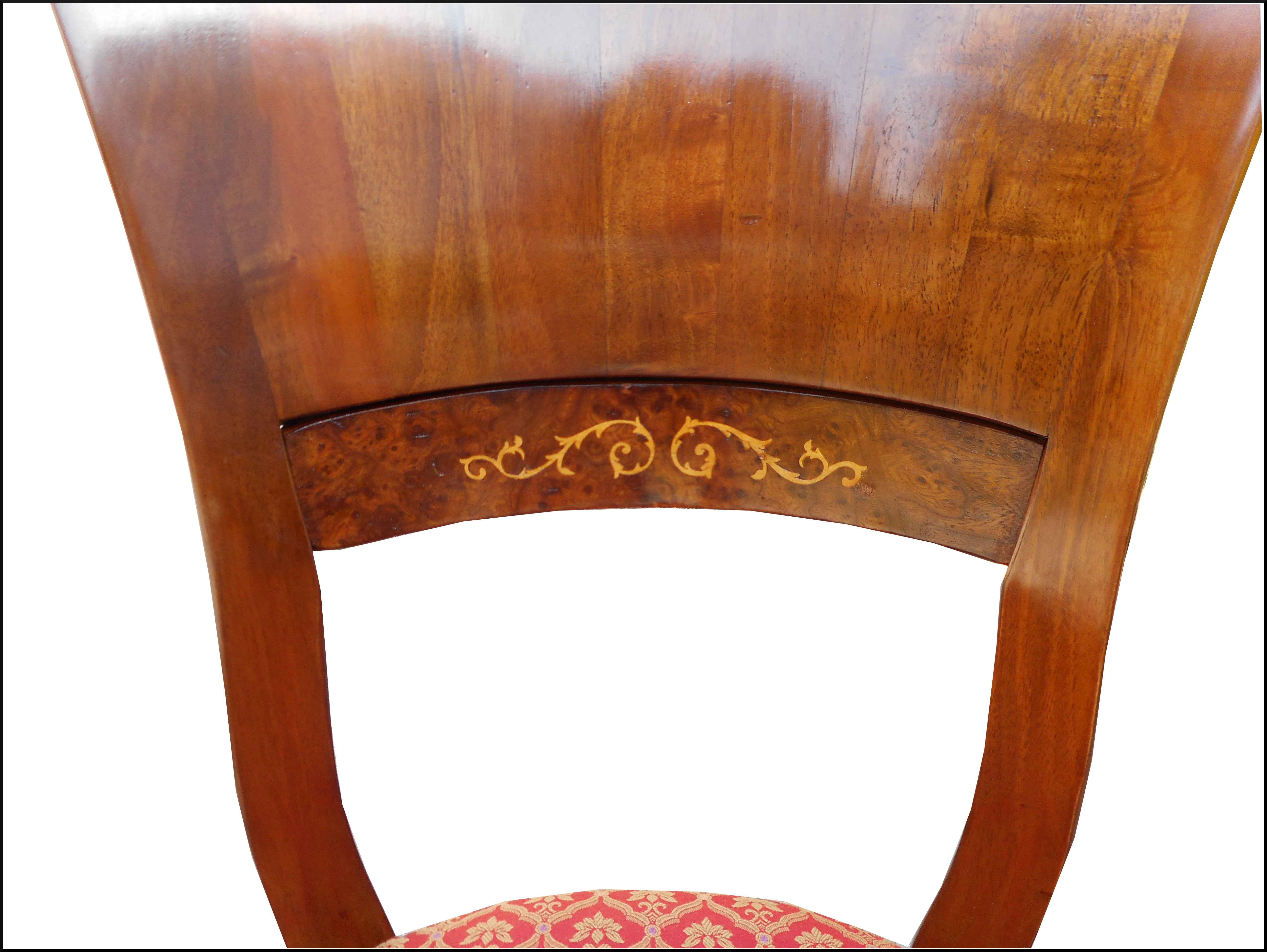 Elegante sedia stile 800 con intarsio