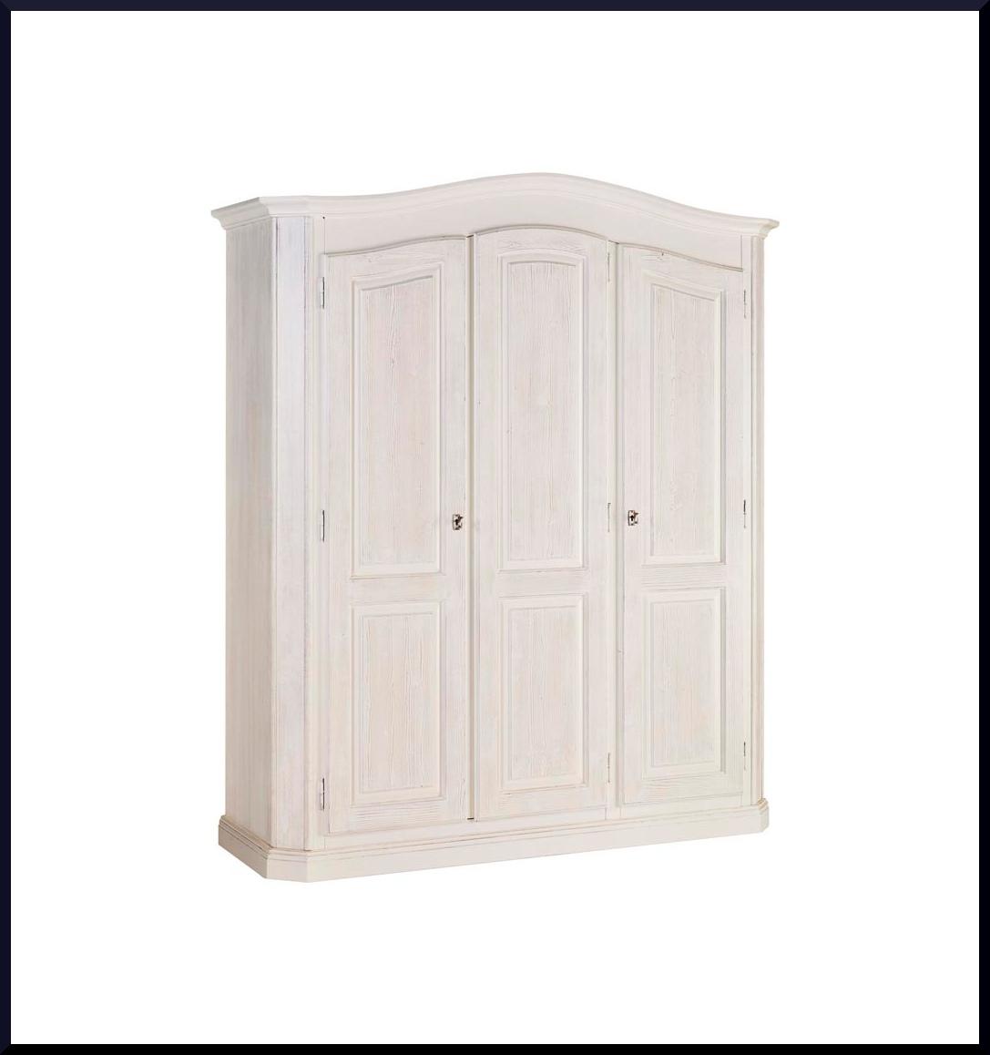 Armadio tre porte bianco spazzolato