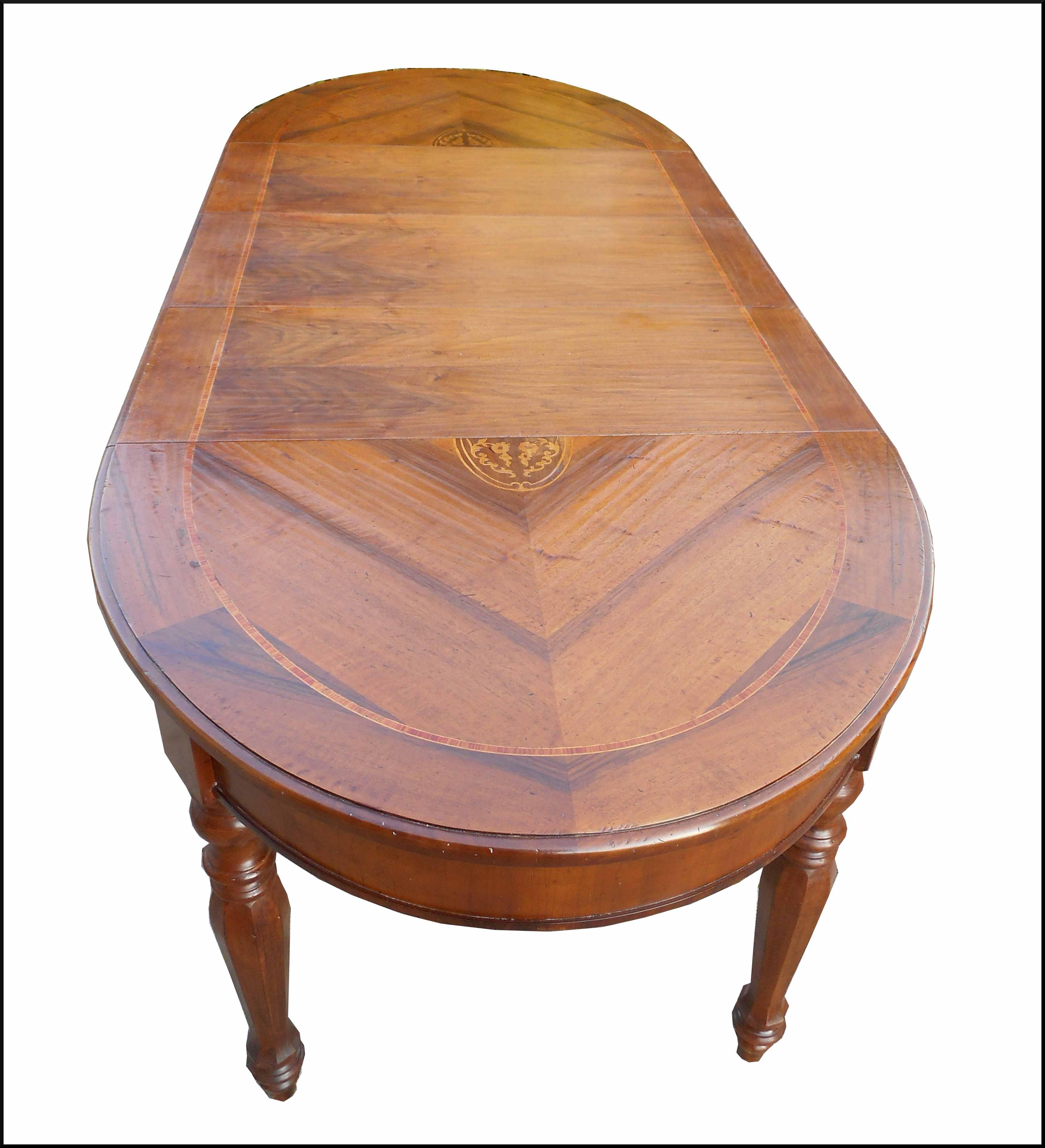 Piccolo ed elegante tavolo in noce con intarsio floreale - Tavolo piccolo allungabile ...