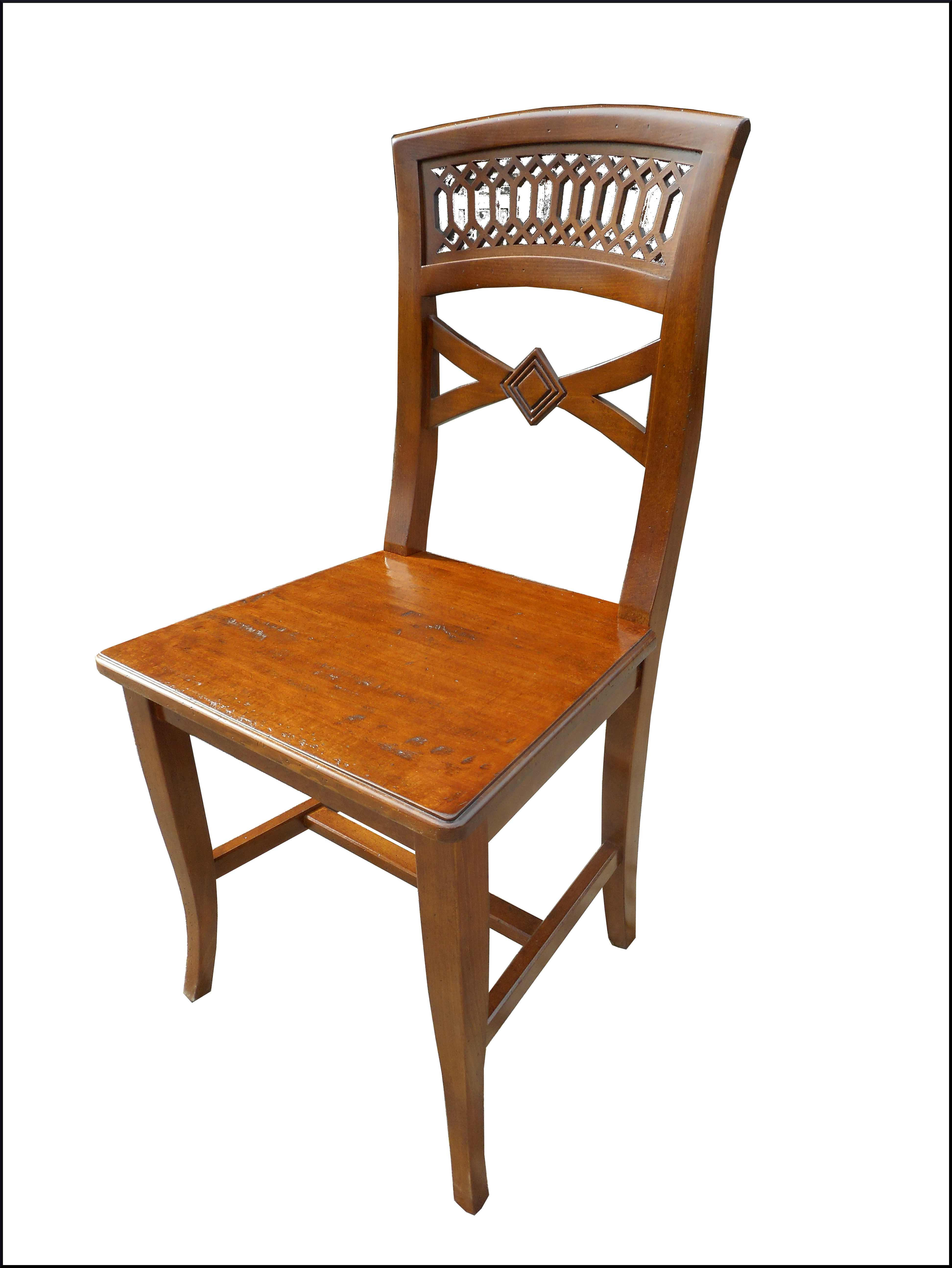 Sedia classica con fondo in legno