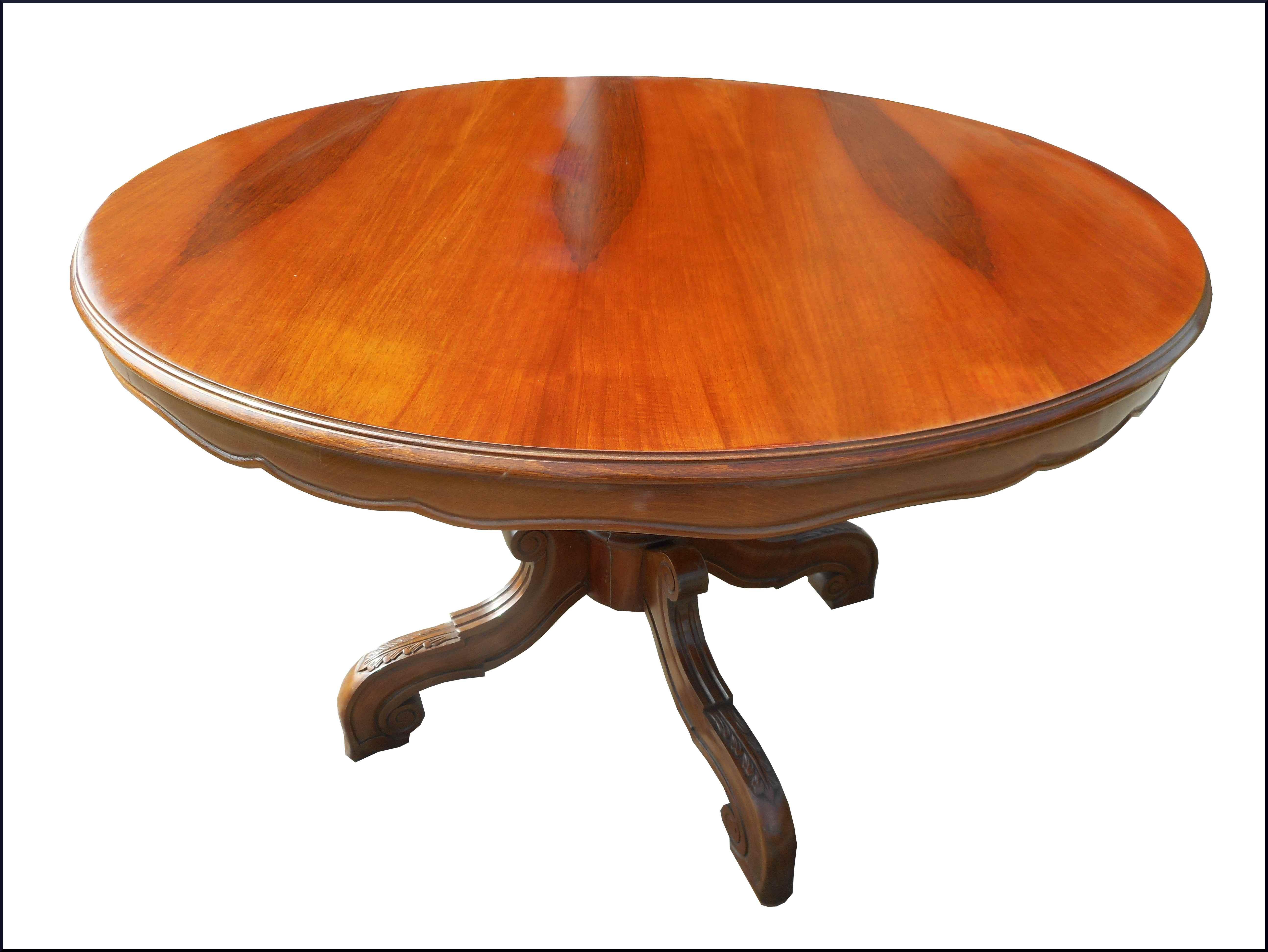 Elegante tavolo rotondo in noce con base centrale e gamba intagliata a mano la commode di - Tavolo rotondo con piede centrale ...
