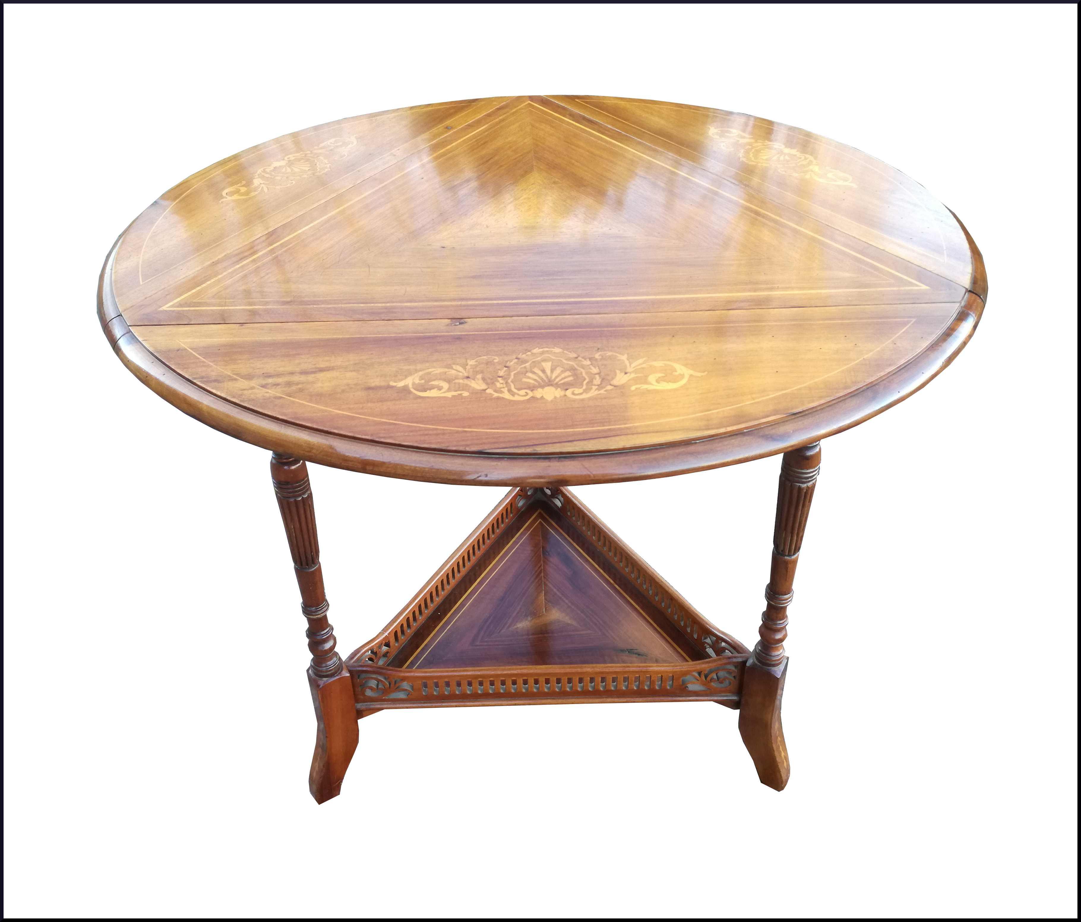 Tavolino Rotondo Da Salotto Antico.Particolare Tavolino Da Salotto Intarsiato Con Alette La Commode