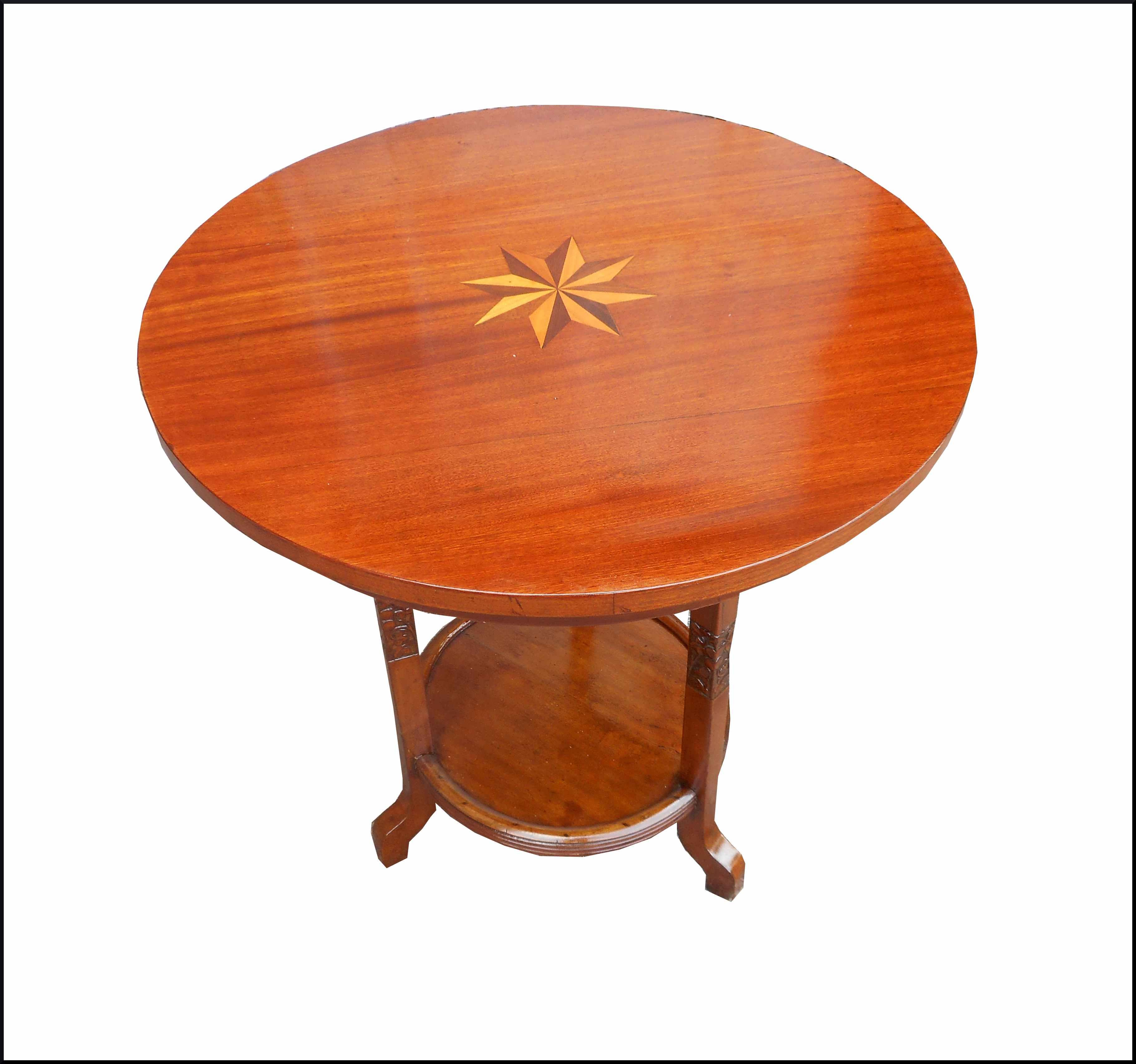 Tavolino liberty intagliato e intarsiato