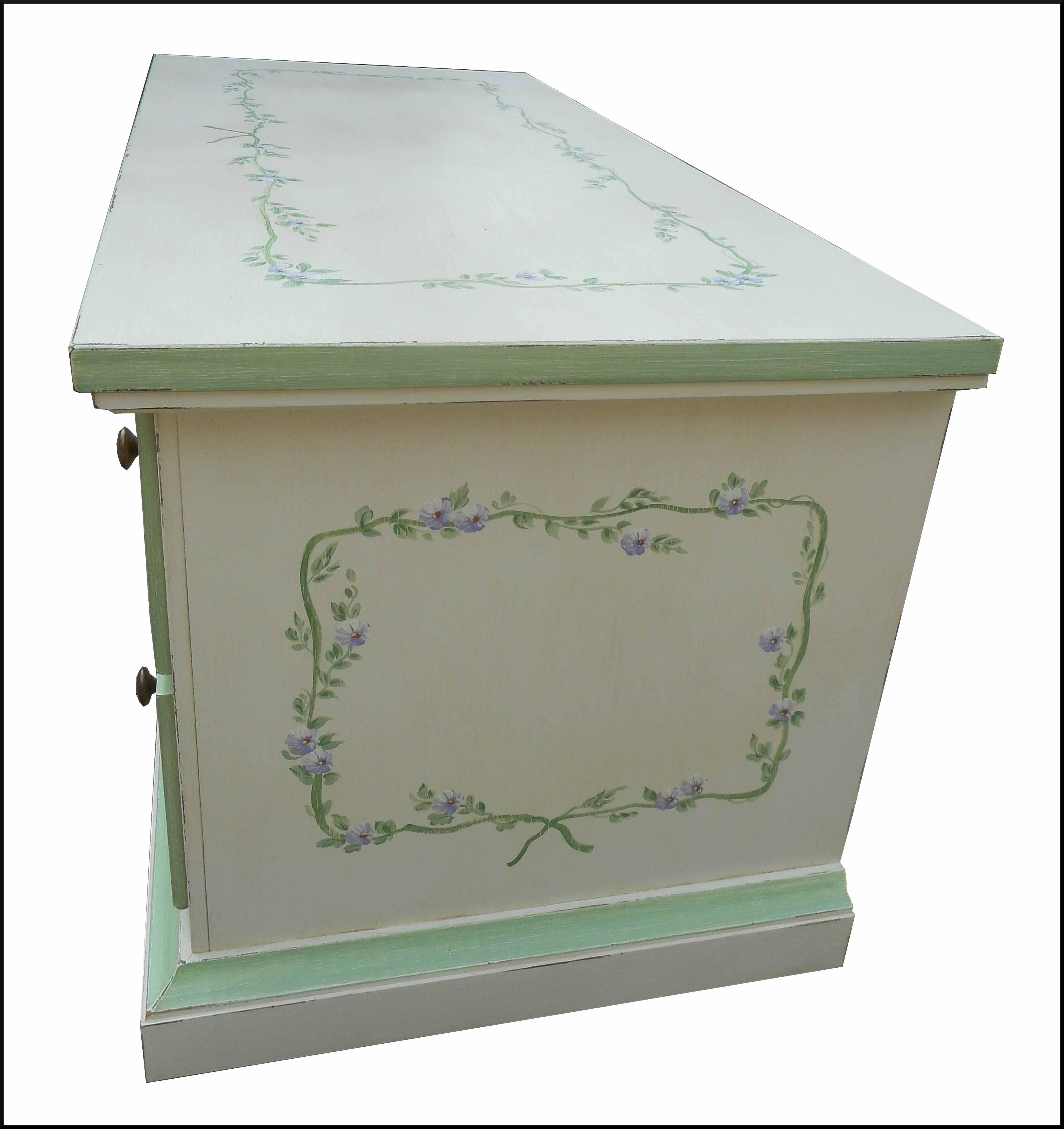 Cassapanca portatv dipinta e decorata la commode di - Cassapanca decorata ...