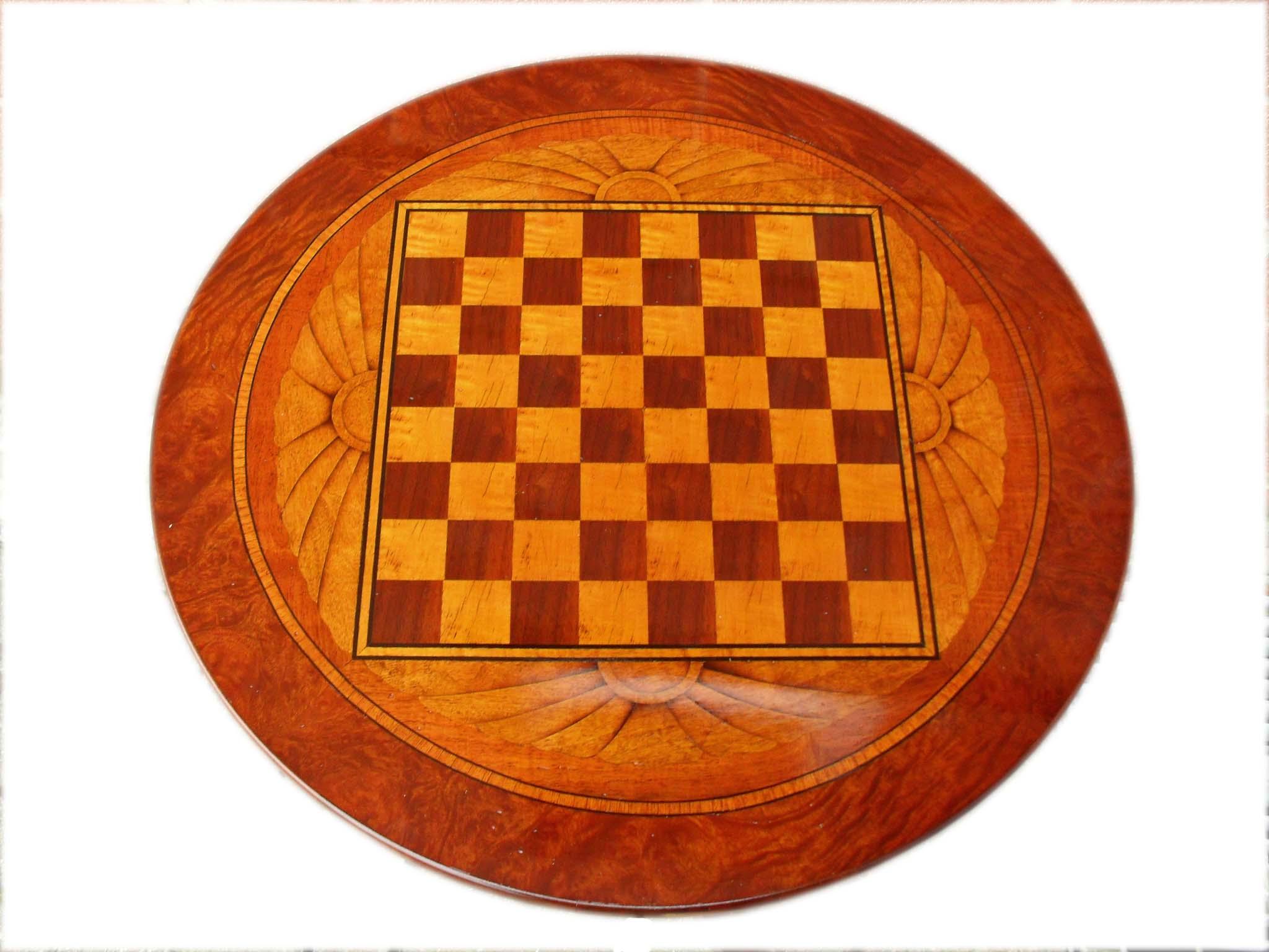 Tavolino da gioco con dama gamba tornita