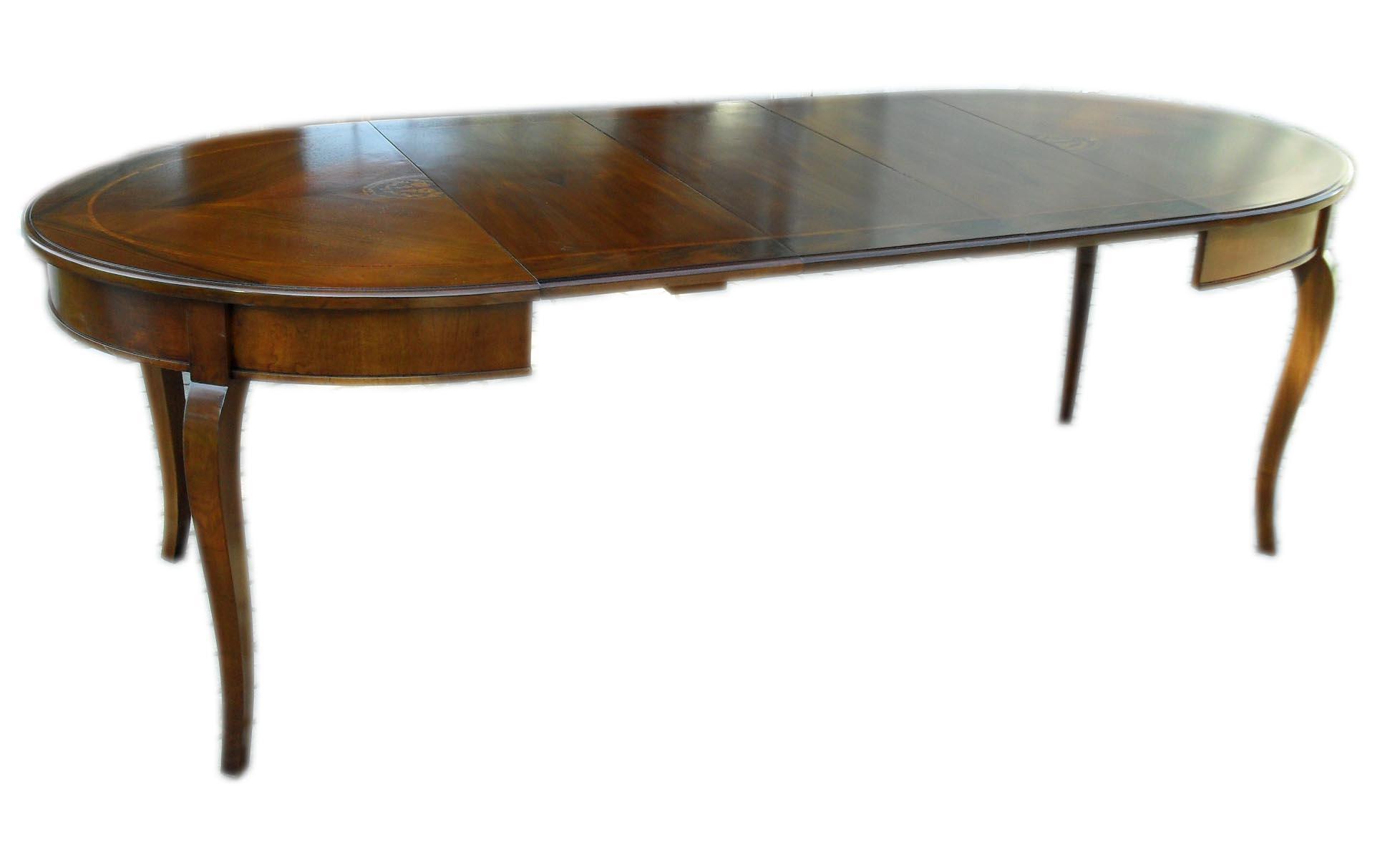Tavolo ovale allungabile classico con intarsio la - Tavolo consolle allungabile stile classico ...