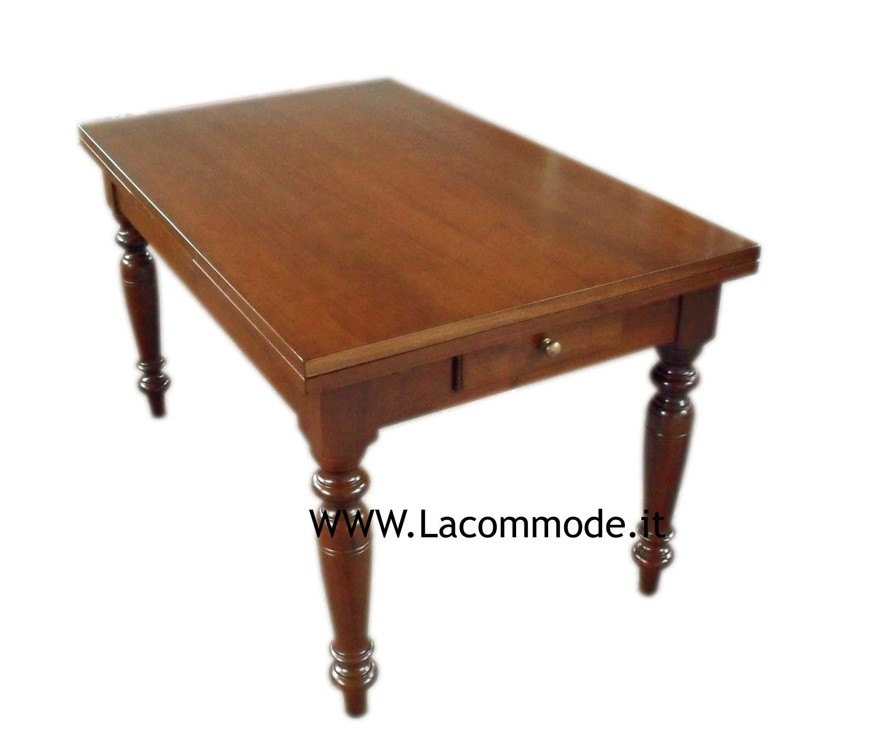 Tavolo classico gamba tornita allungabile noce la - Tavolo consolle allungabile stile classico ...