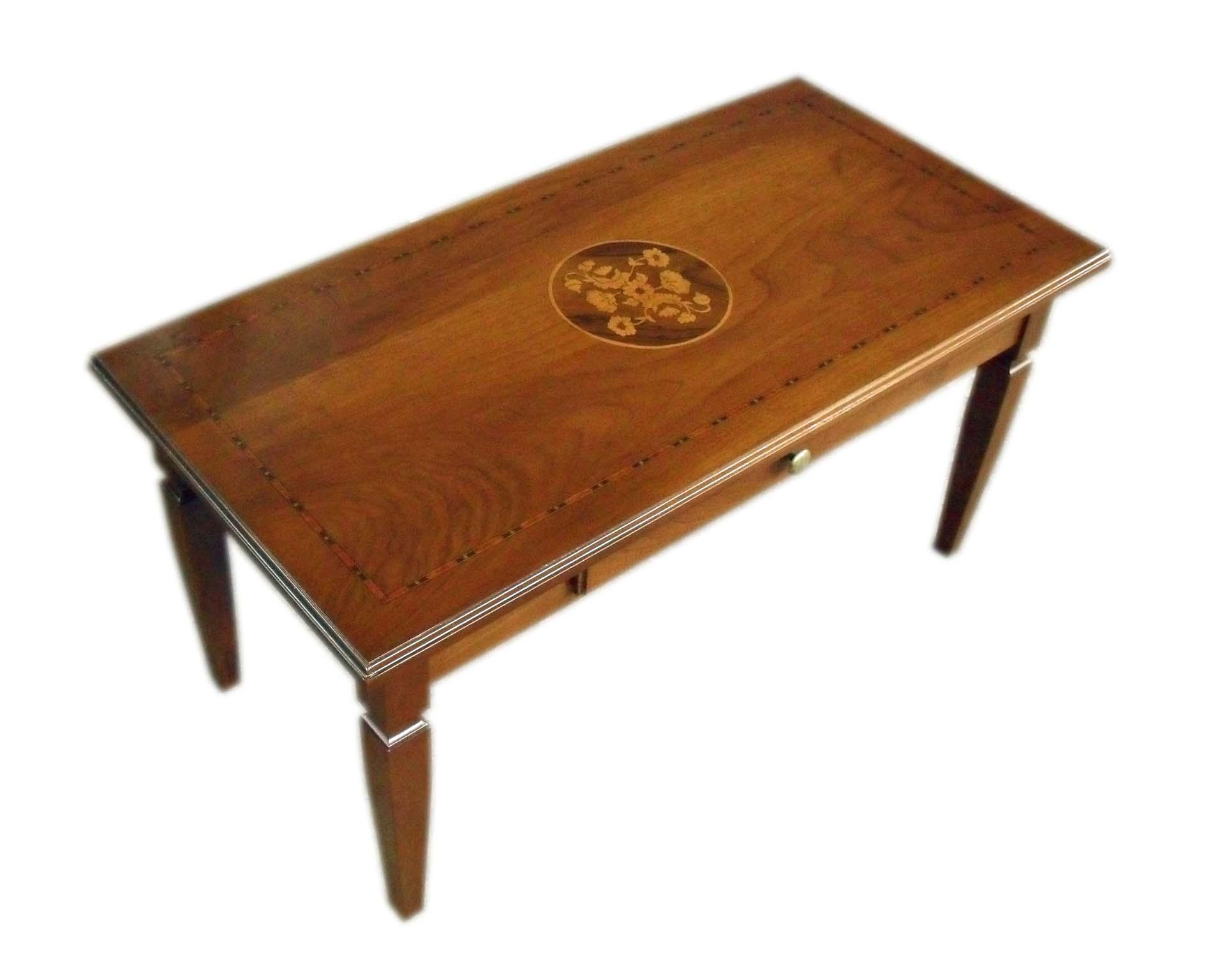 Tavolino classico salotto con cassetto e intarsi
