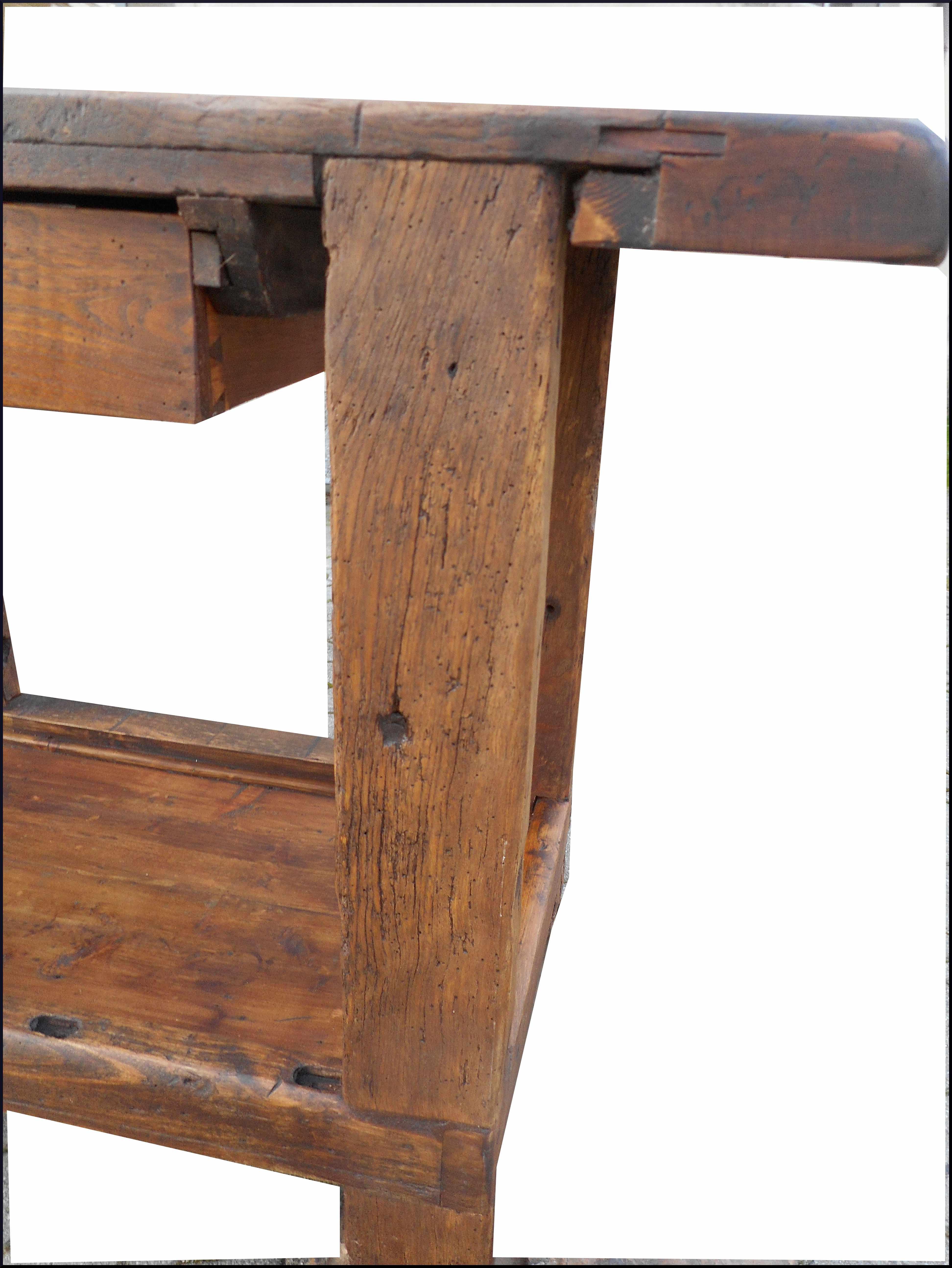 Banco da falegname con morsa in ferro